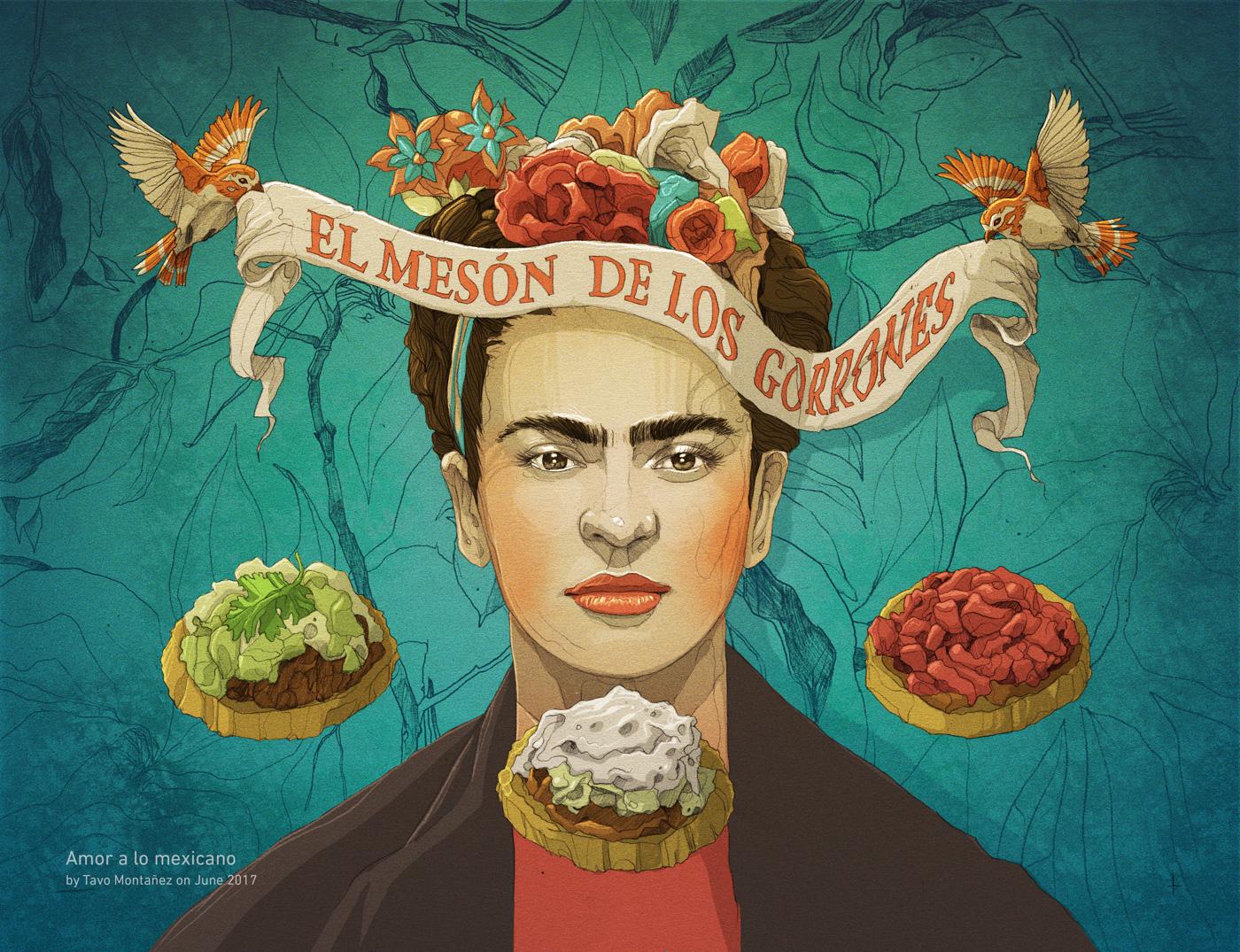 Frida Kahlo editorial magazine digital illustration Adobe Photoshop Wacom Cintiq Drawing  ILLUSTRATION  art mexico