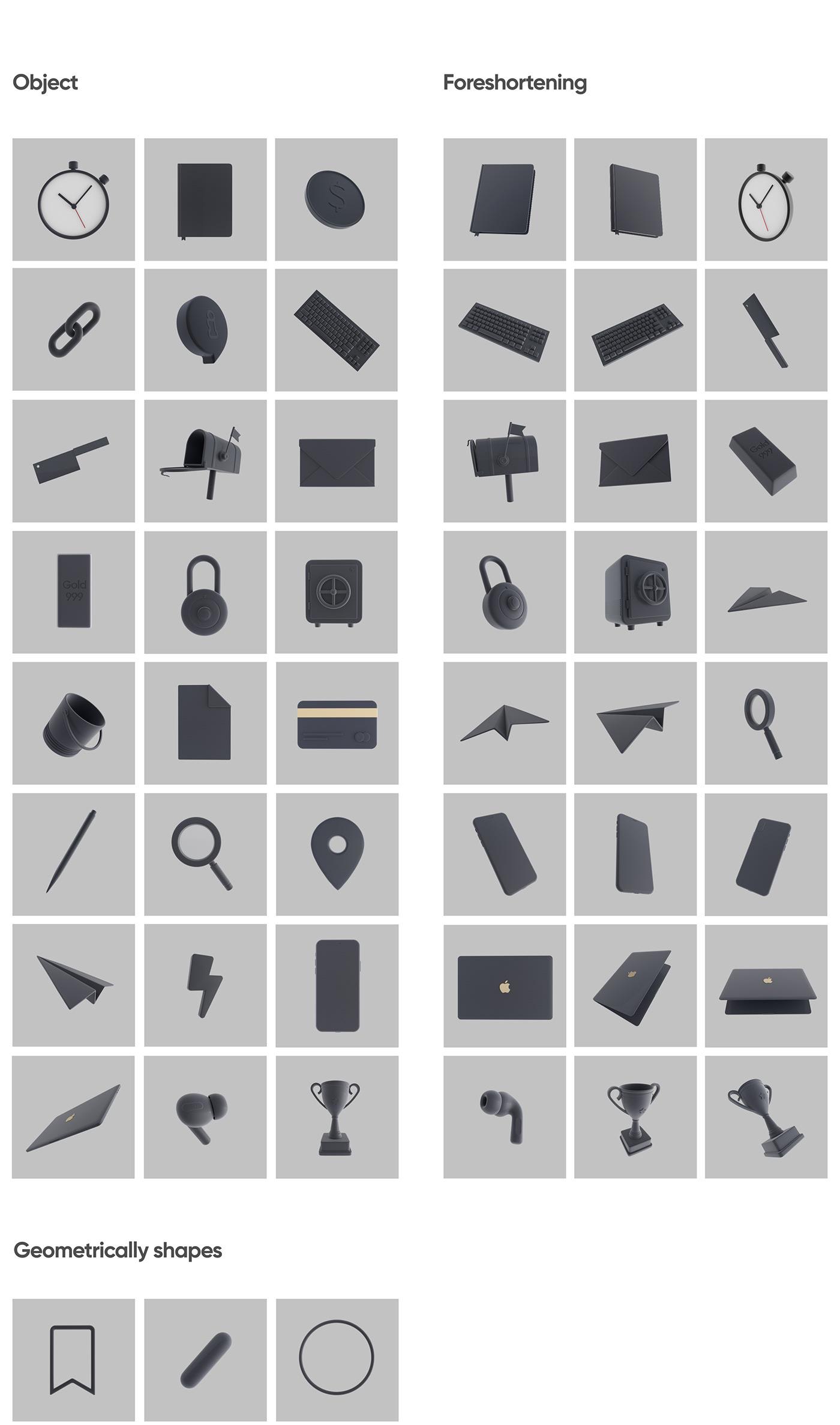 3D 3D Assets icons Pack black ILLUSTRATION  kandinsky panam