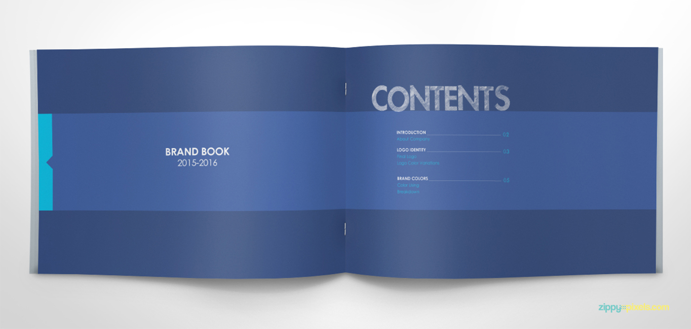 Free brand book template cool blue on behance for Free brand guidelines template