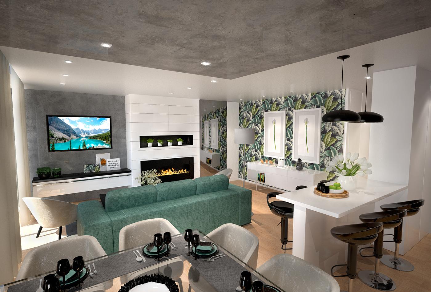 modern living room green Plant ciment White family confort house apartment