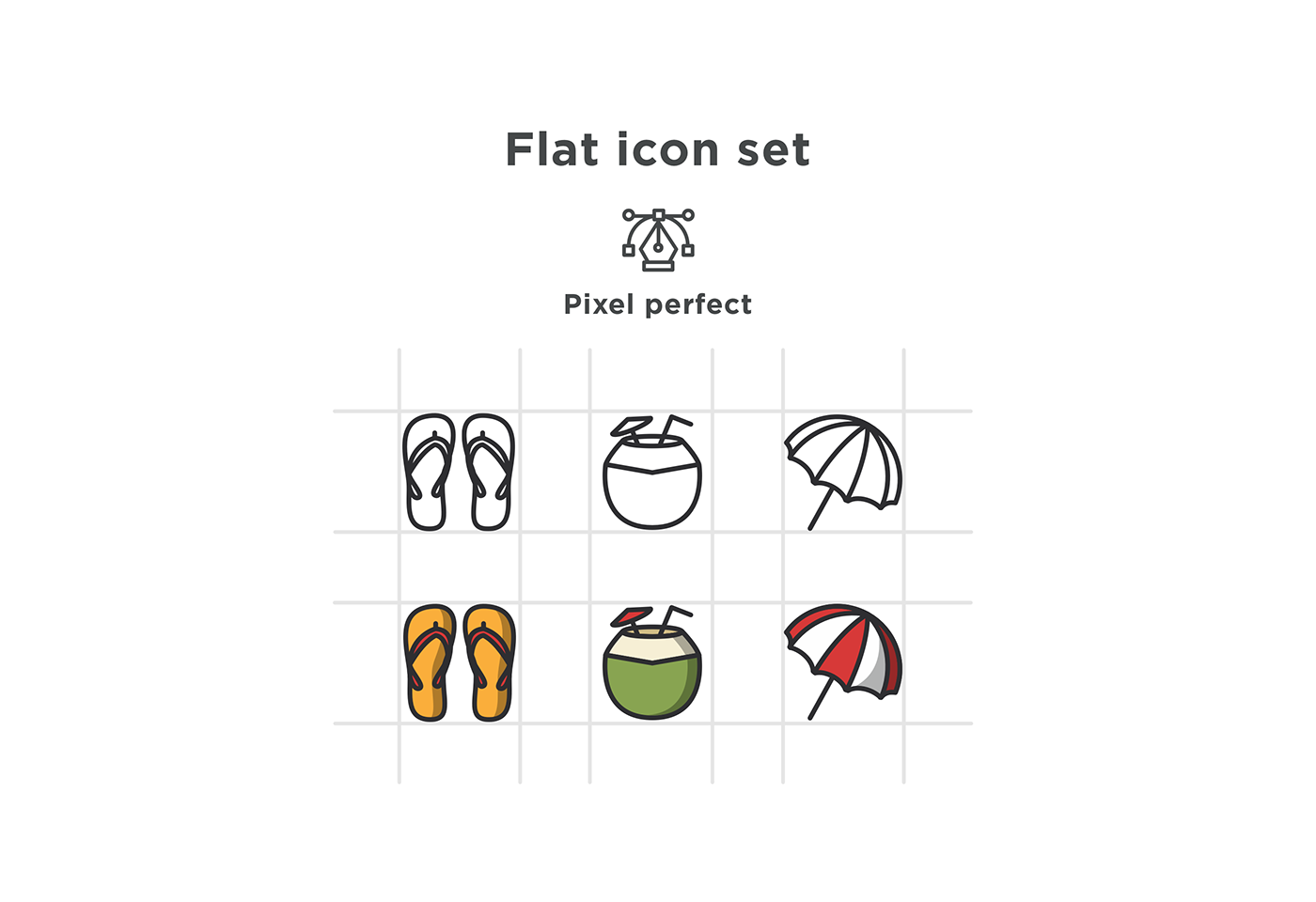 free icons free download Icon flat summer Summer icons hat drink sunglass camera UI