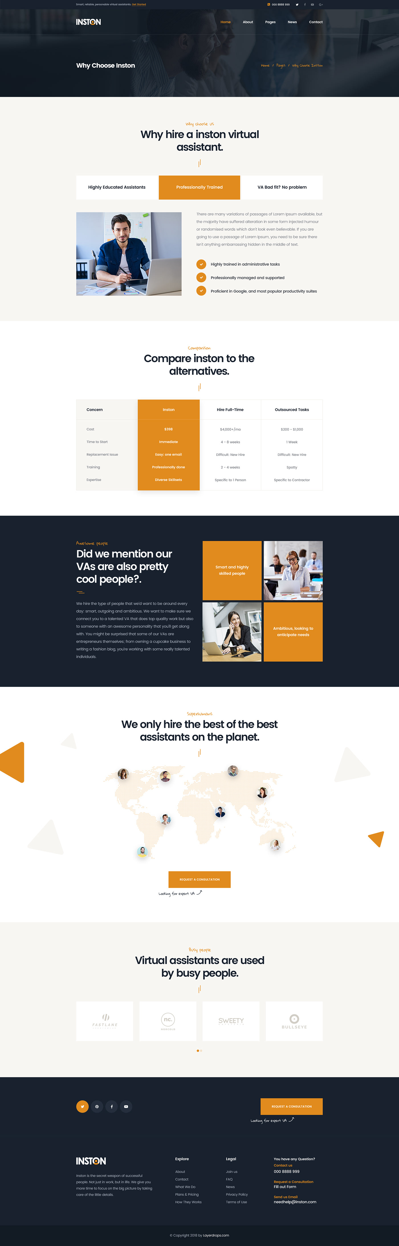 Inston Virtual Assistant Services Psd Template On Behance
