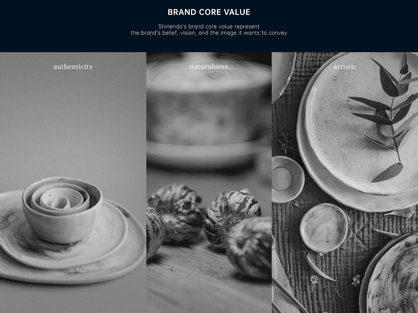 The core values defined for a branding project