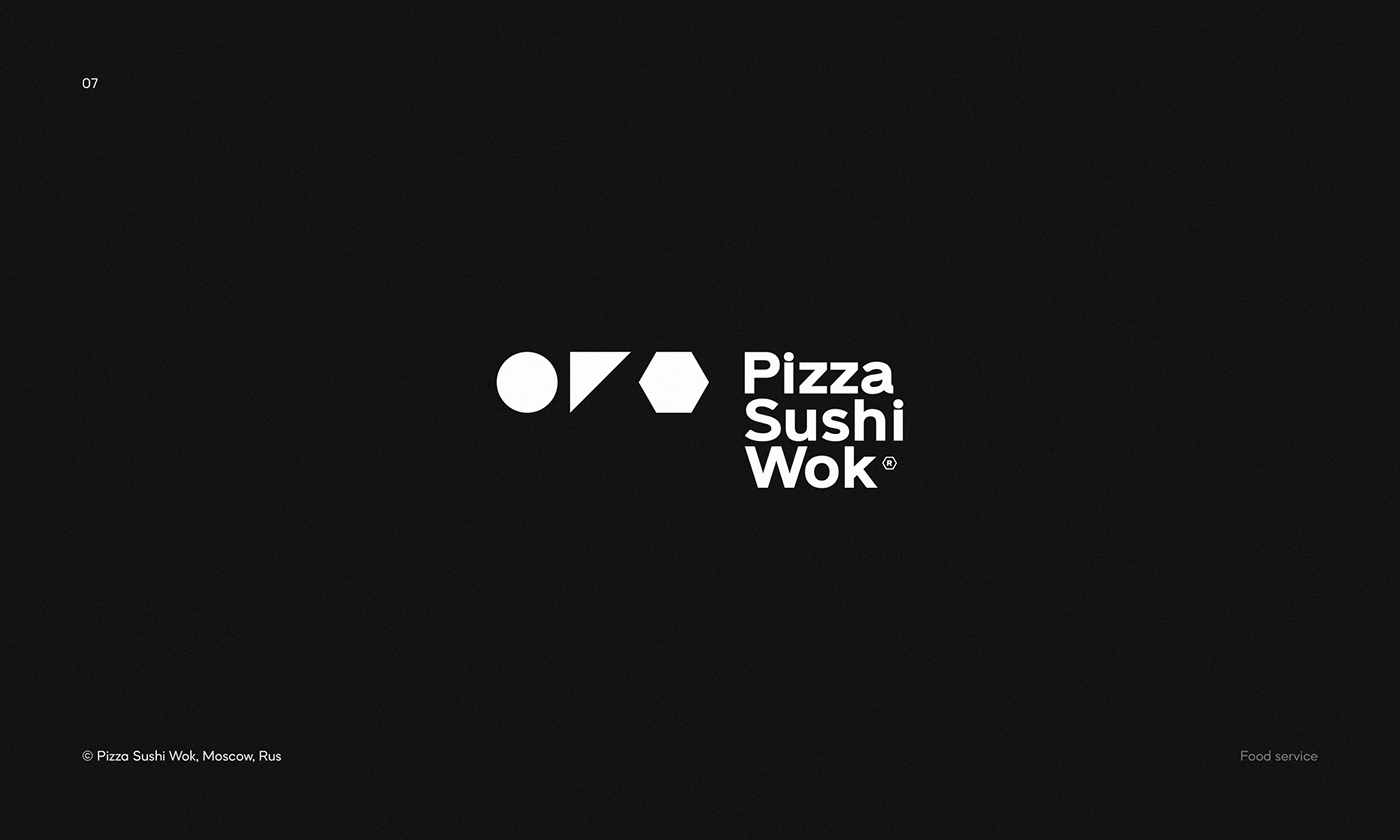 Logo for Pizza Sushi Wok — food delivery service with more than 60 kitchens all over Moscow.