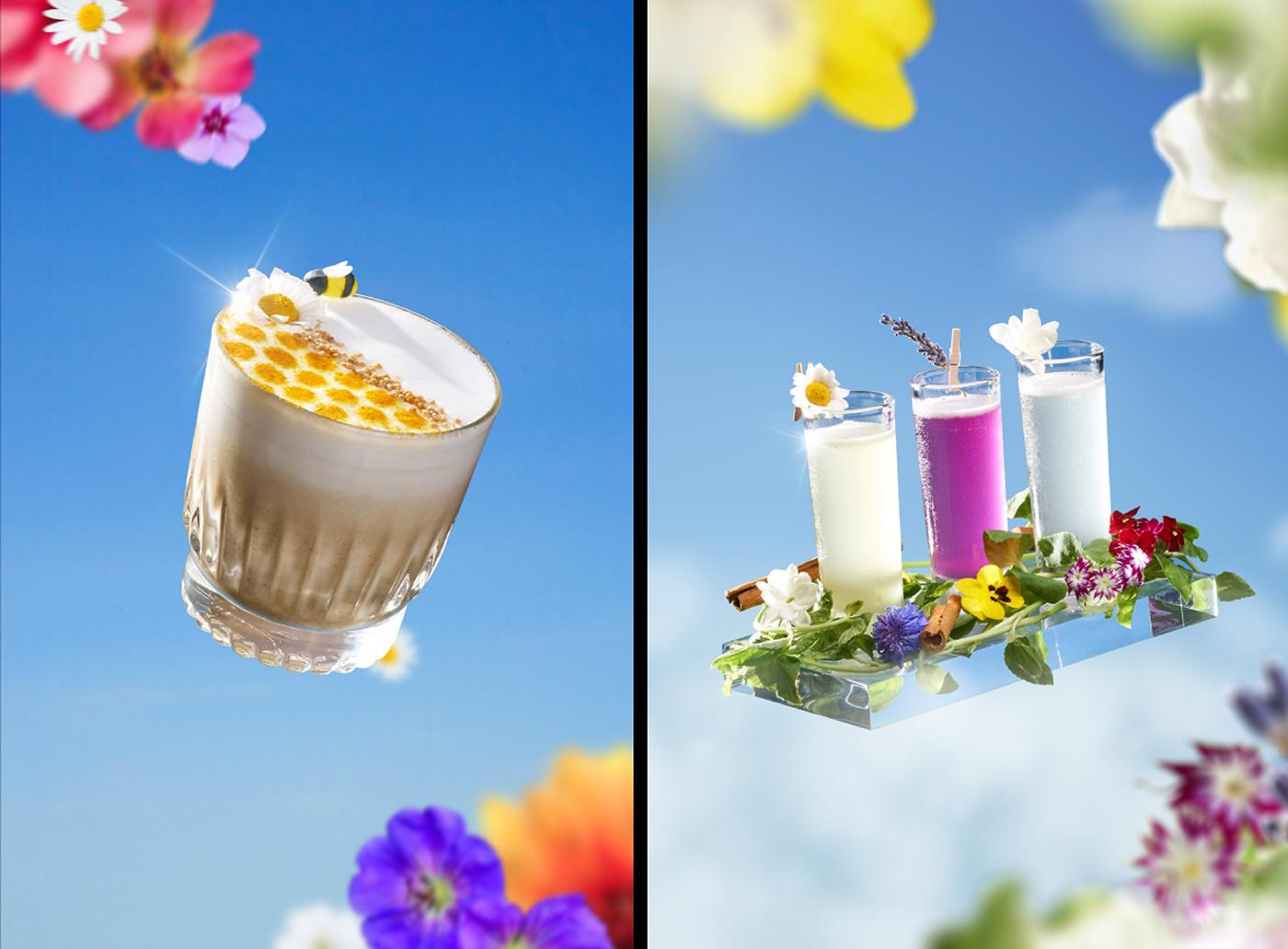 bloom dessert editorial F&B flower menu spring ILLUSTRATION  drink Food