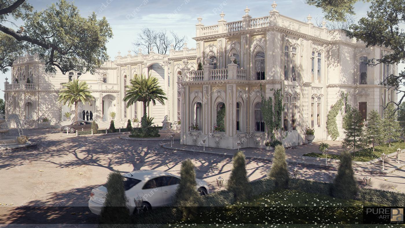 archinteriors archexterior luxury Qatar palace Villa decor