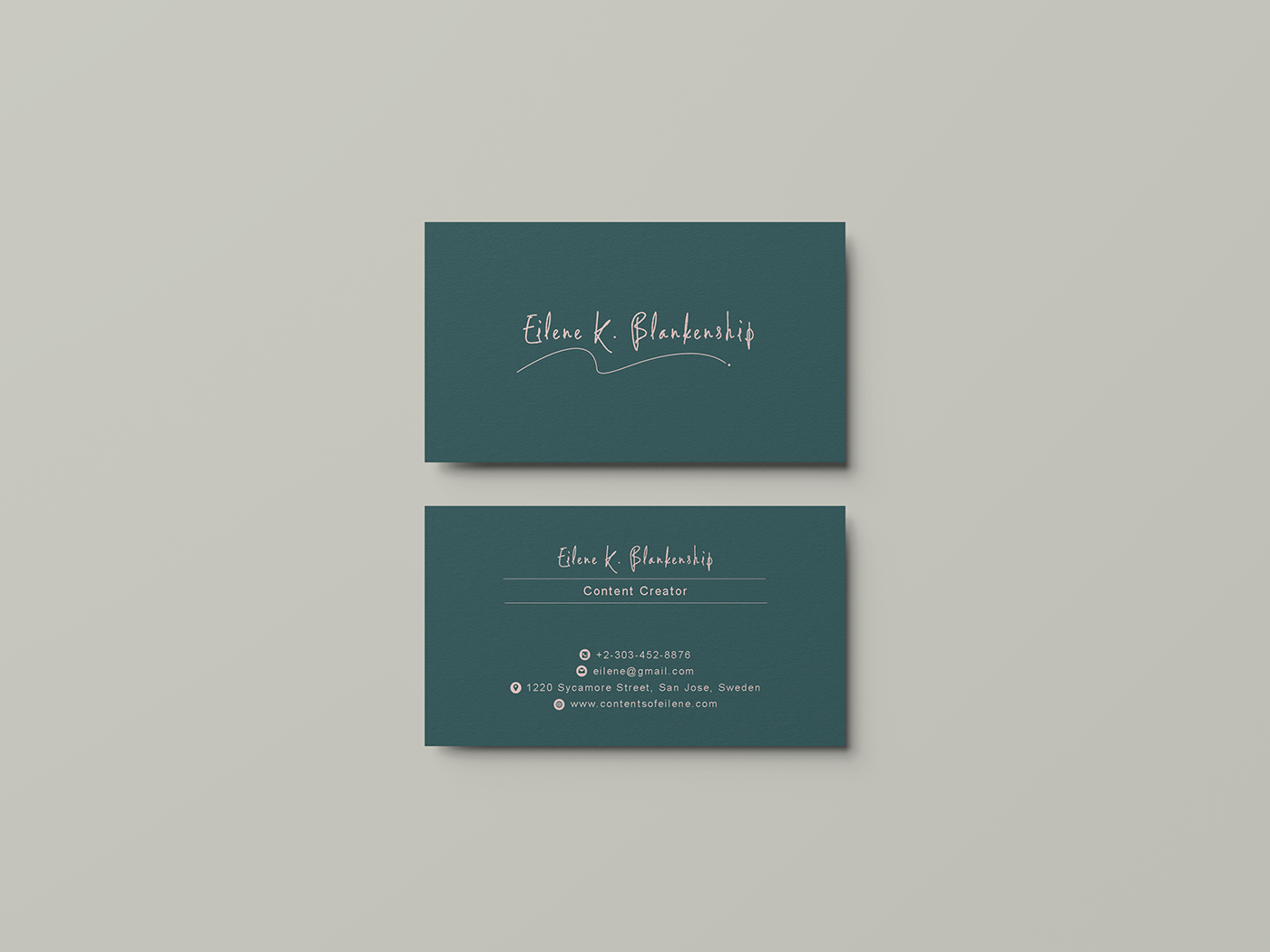 business card for content creator on behance