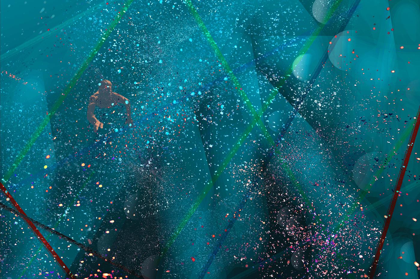blue sun - multiverse / universe - swim
