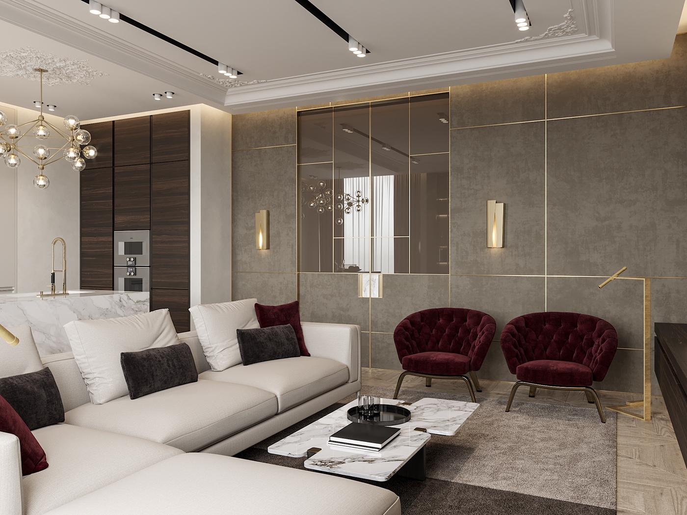Interior design interiordesign Minimalism modern DE&DE Interior Studio designer corona render  3ds max photoshop