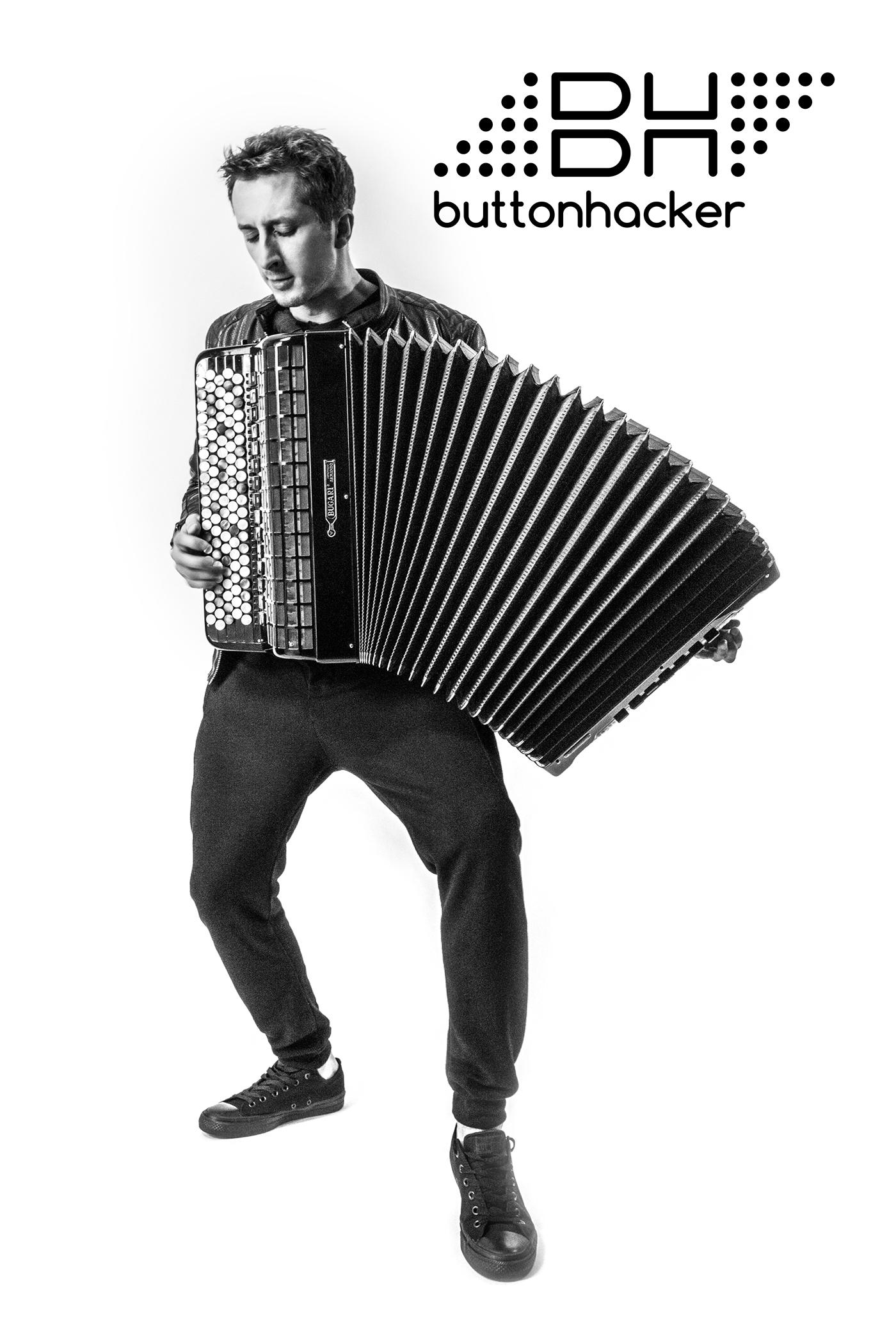buttonhacker logo photo music video grading accordion black and white portrait lightleaks handsome