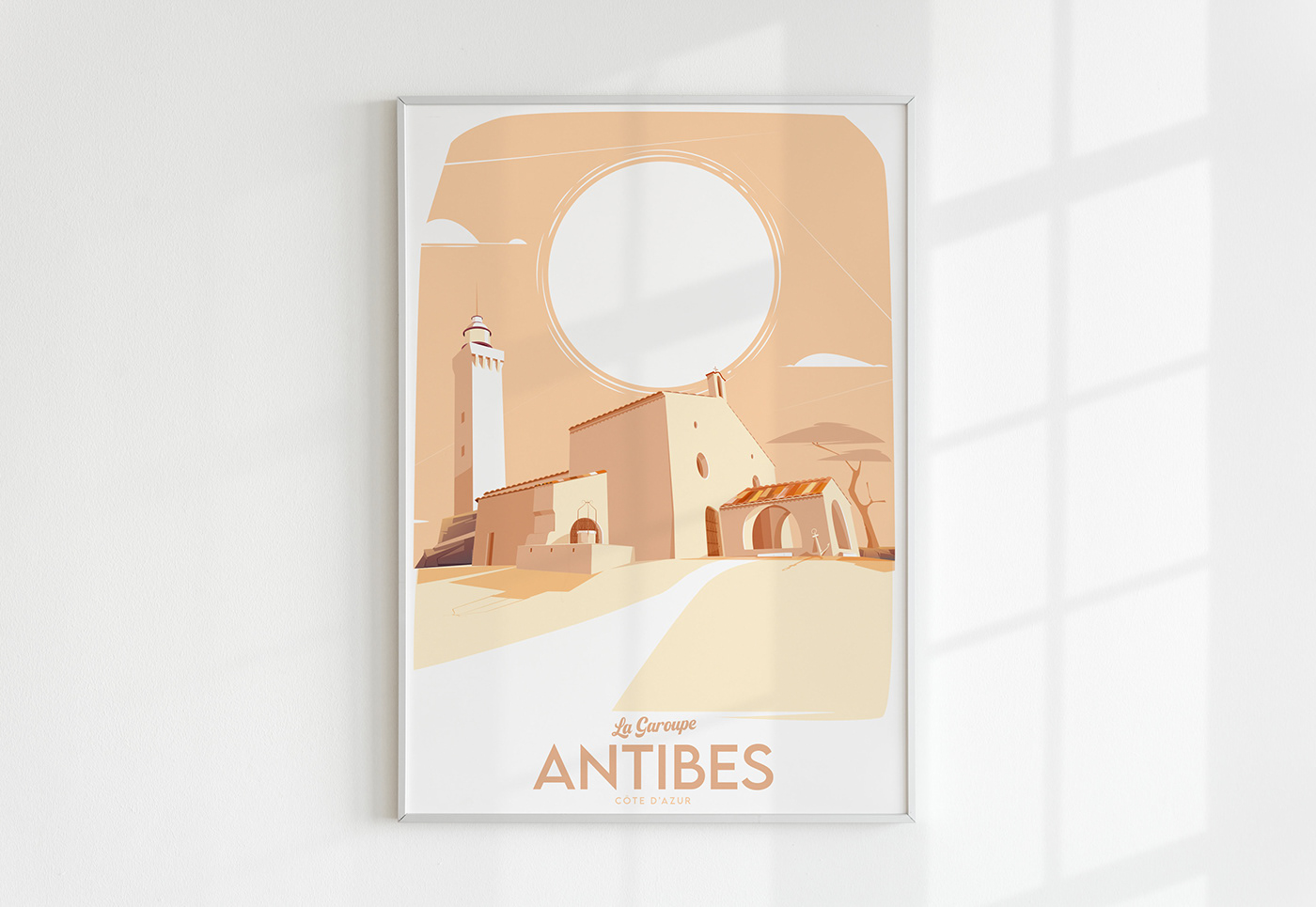 affiche Antibes affiche Nice cote d'azur ILLUSTRATION  lecoupdulapin nissarde.com phare de la garoupe poster
