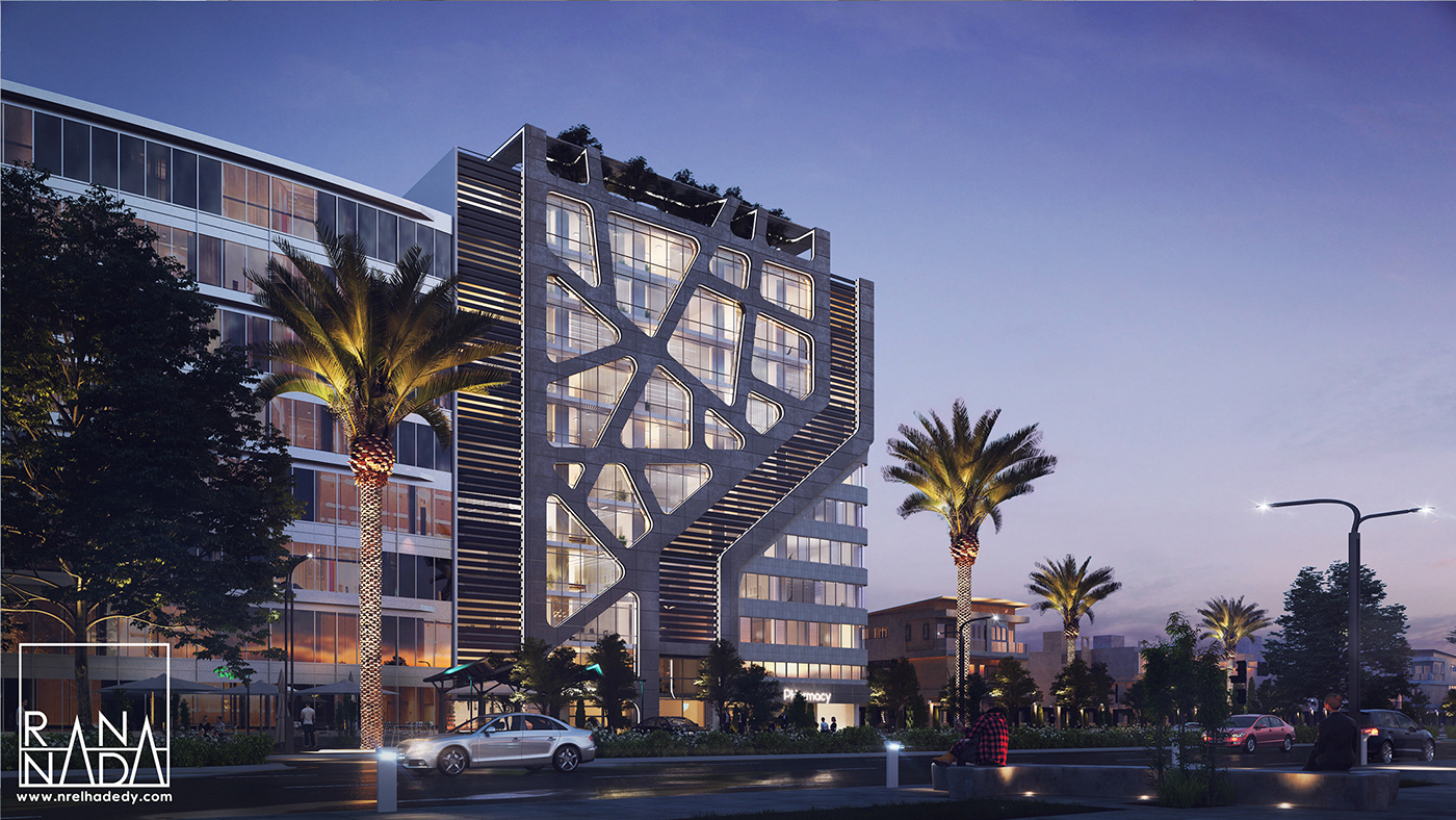 care one Careone egypt tower medical exterior modern concept organic animation