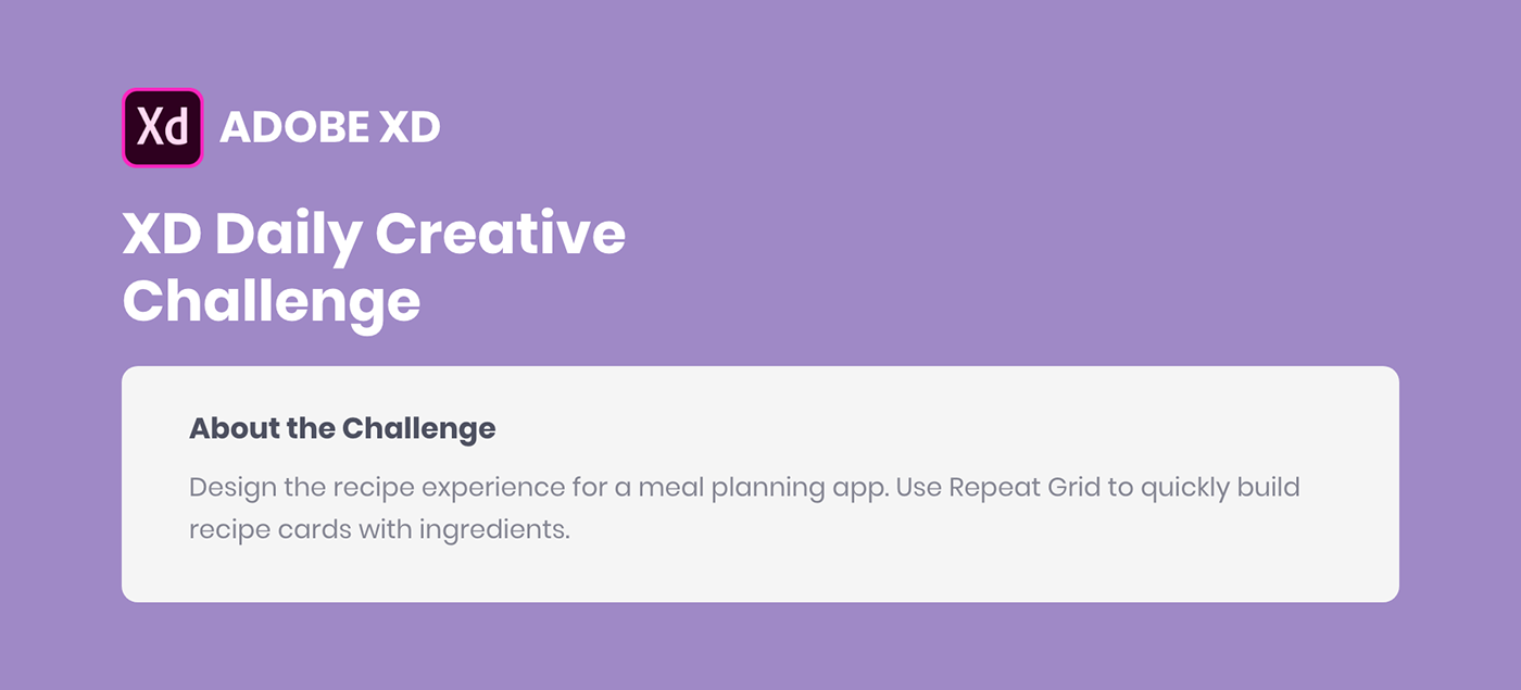 Adobe XD Daily Creative Challenge - Design the recipe experience for a meal planning app
