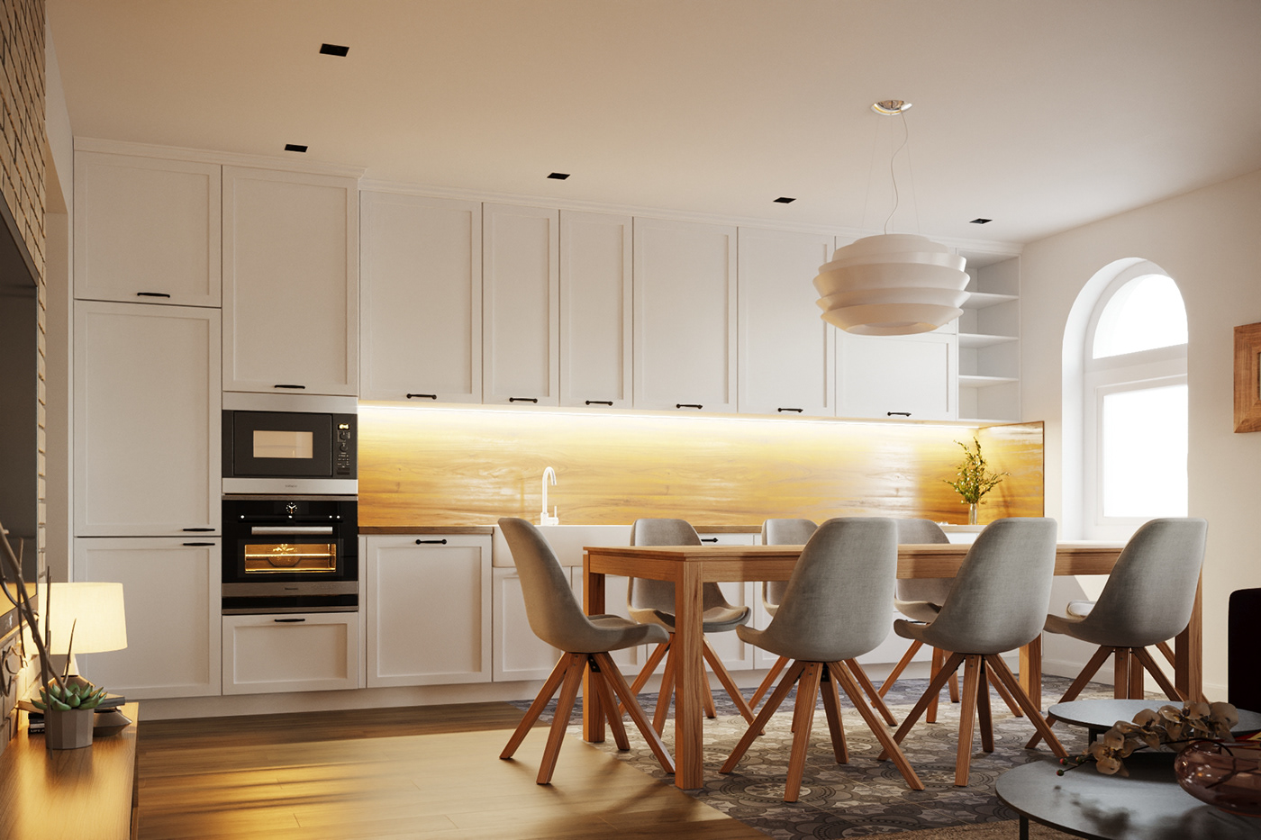 architecture archviz CGI corona render  Interior interior design  kitchen living room Render visualization