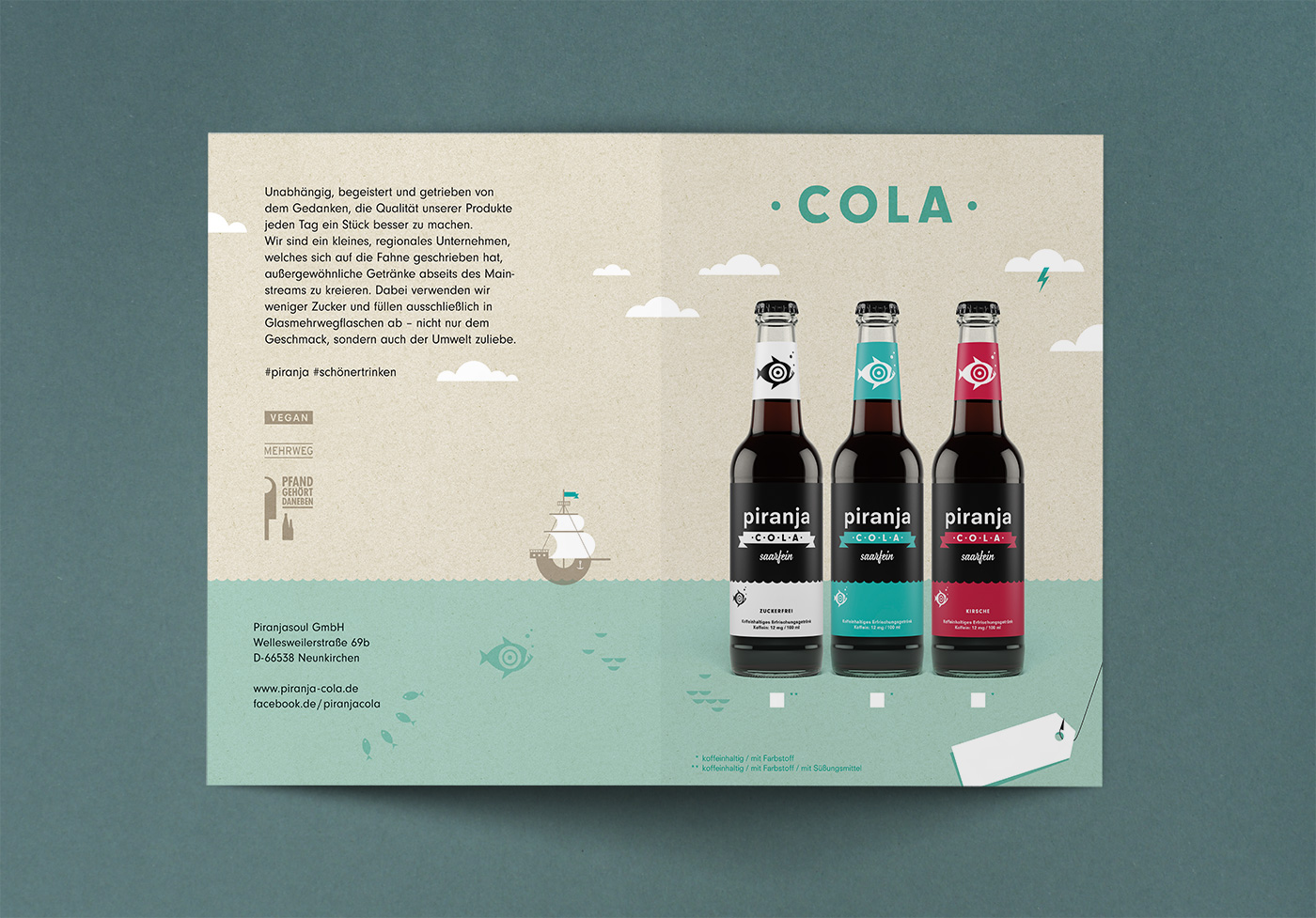 piranja cola cola drink poster Label logo fish chili  coffee limo tea eistee Piranja