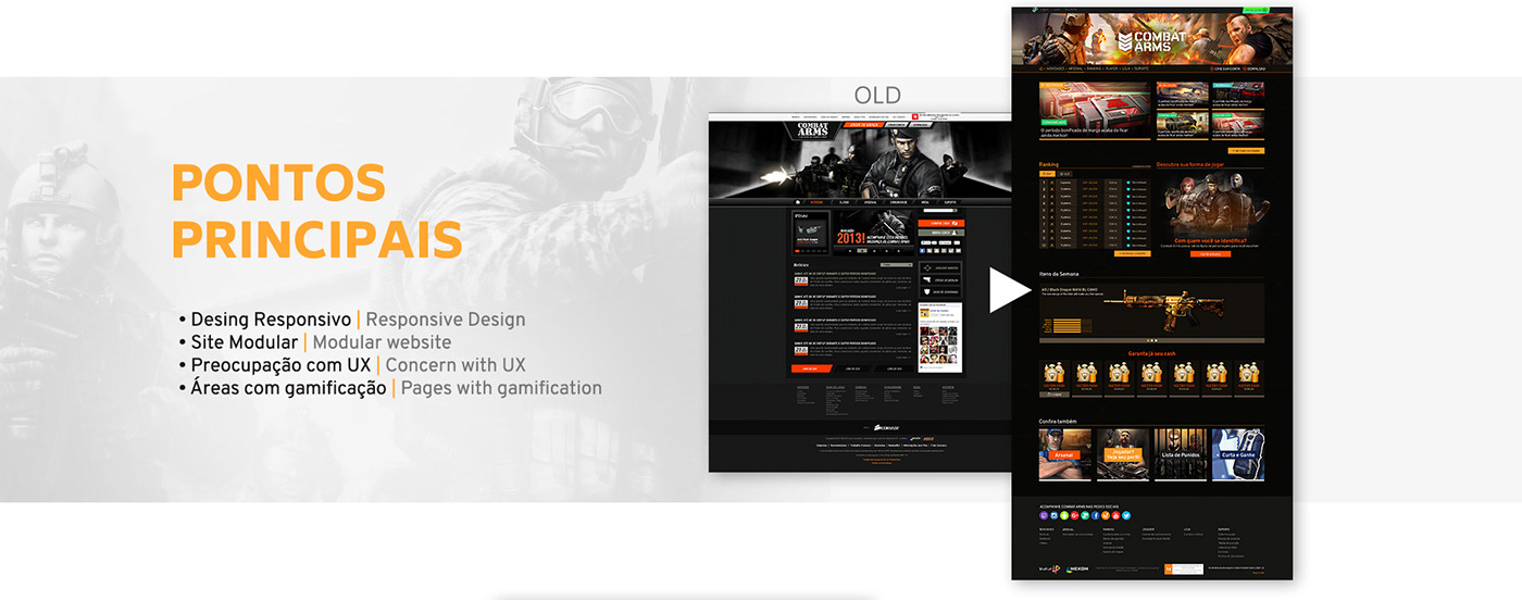 Web Design  ux UI combat arms jogos game site Website