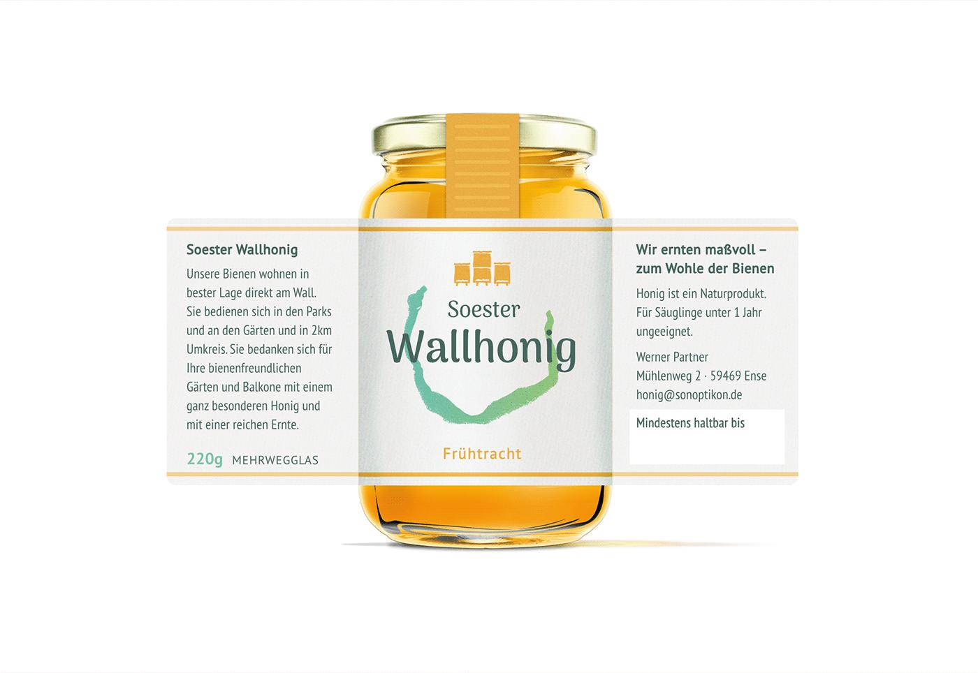 "jar with honey ""soester wallhonig"" design"
