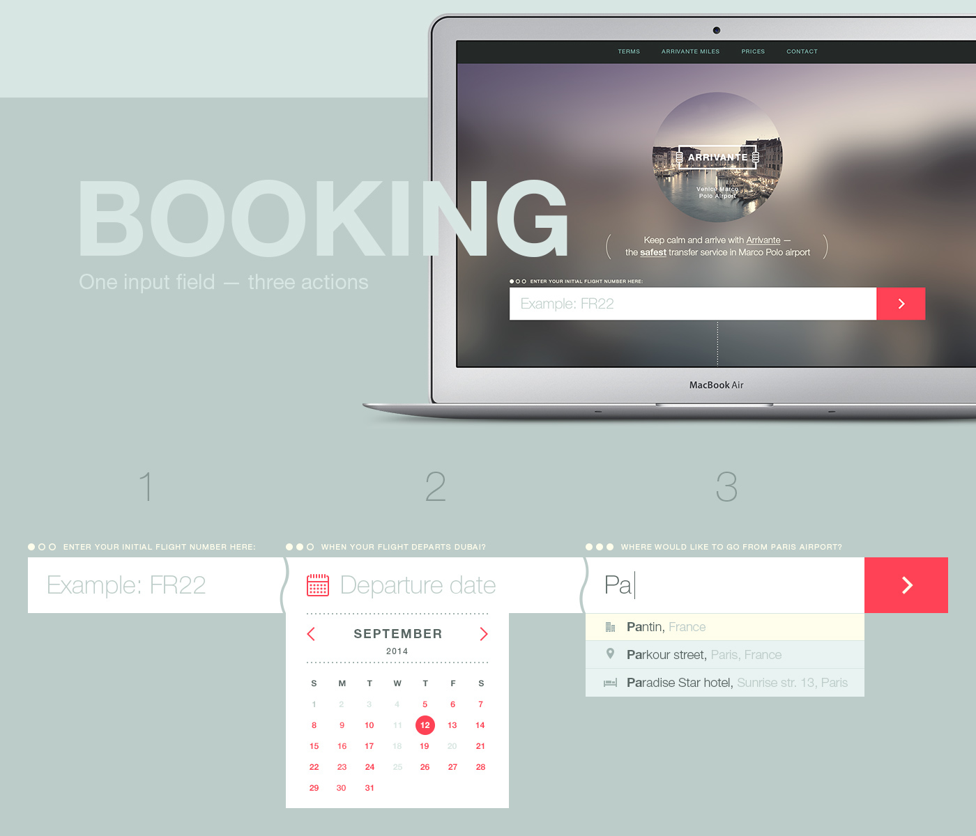 tickets Interface service simple flat driver Booking TRANSFER landing