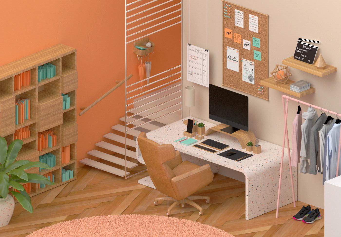 3d art 3D illustrations cinema 4d design Digital Art  Isometric museum Office Render studio