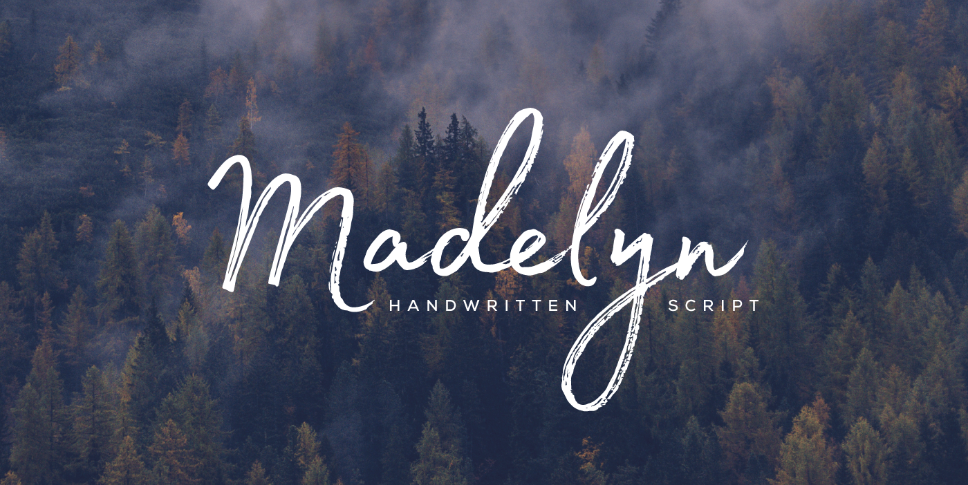 madelyn handwritten Script font typography   creative brush expressive