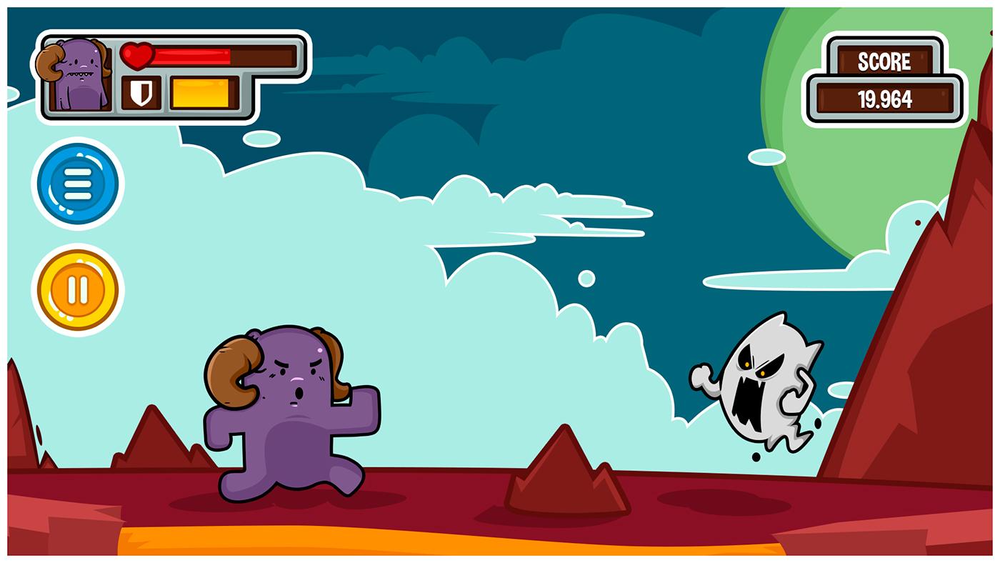 game ios android toon illustrate mobile cartoon GUI HUD GameJam card Character design