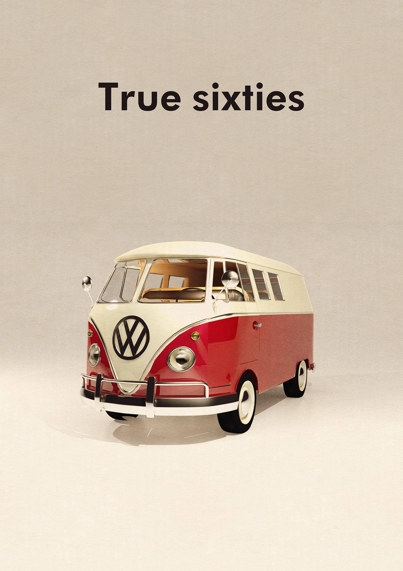sixties Van VW design 3ds max