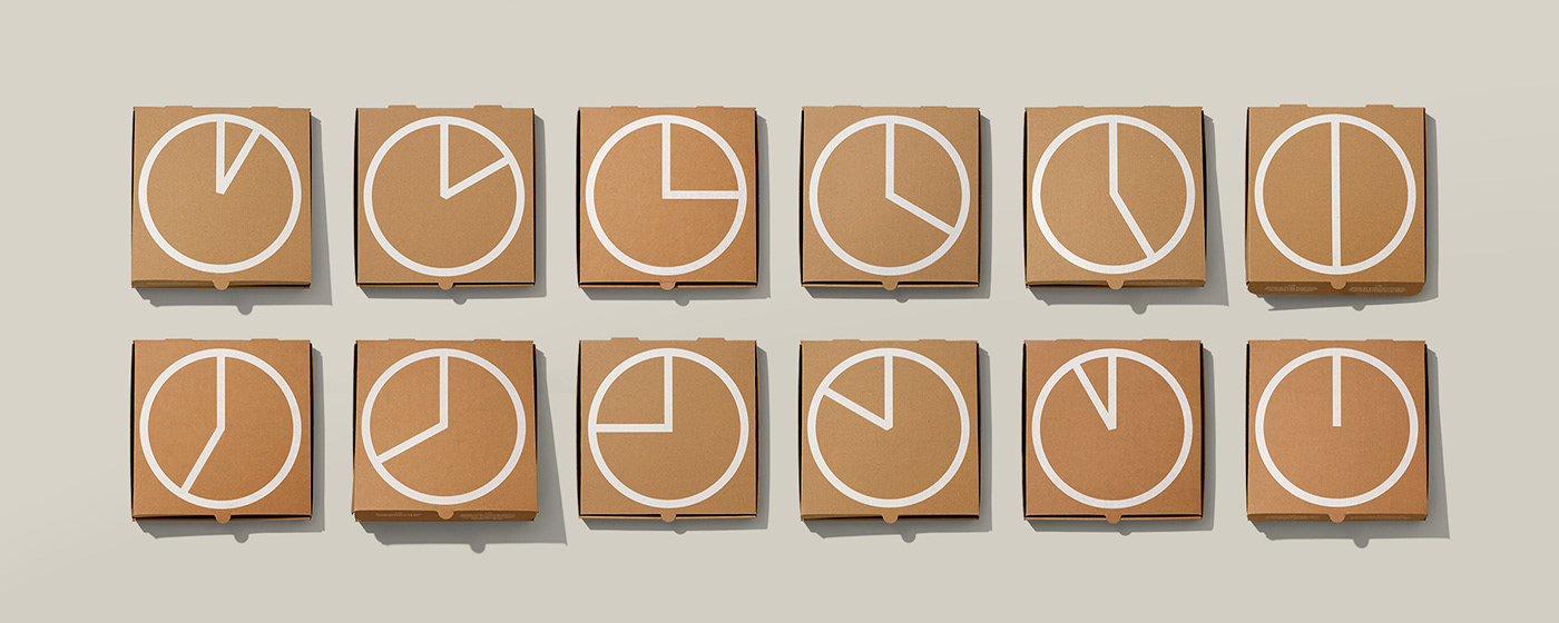 branding  clock Food  Packaging pizza box ready to eat restaurant screen print Toronto Take out