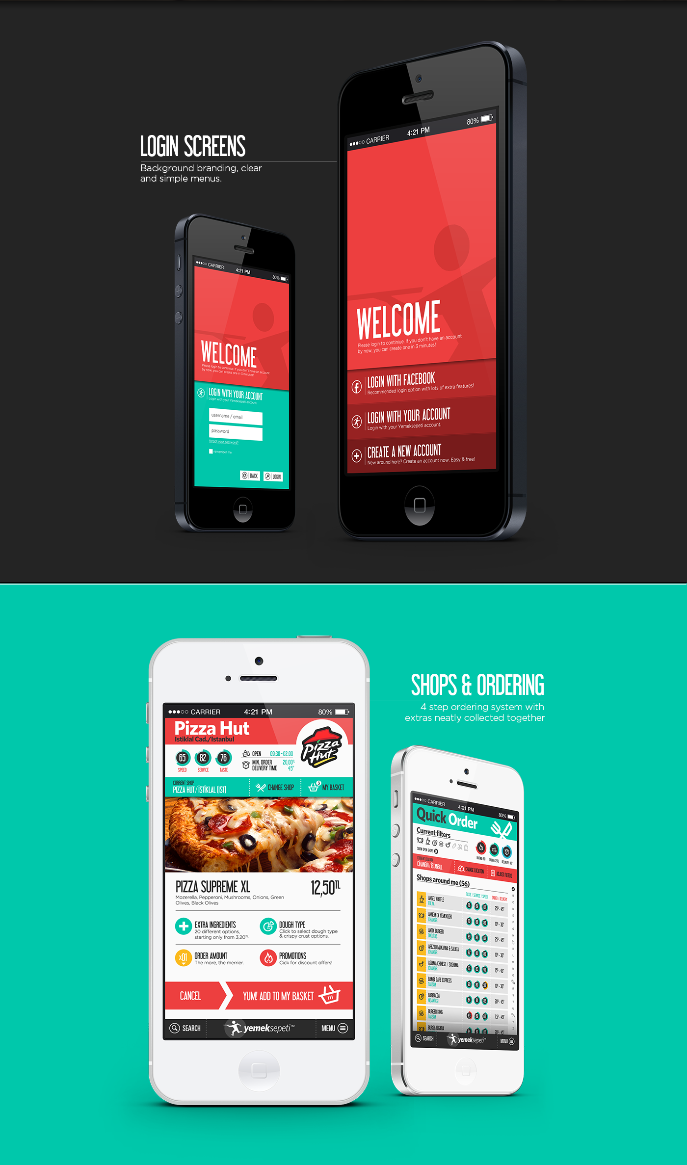 yemeksepeti Food  Culinary app iphone delivery mobile application Eating  Order Online shop