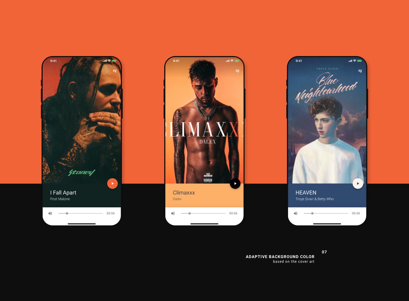 music player material design motion UI mobile app color dark