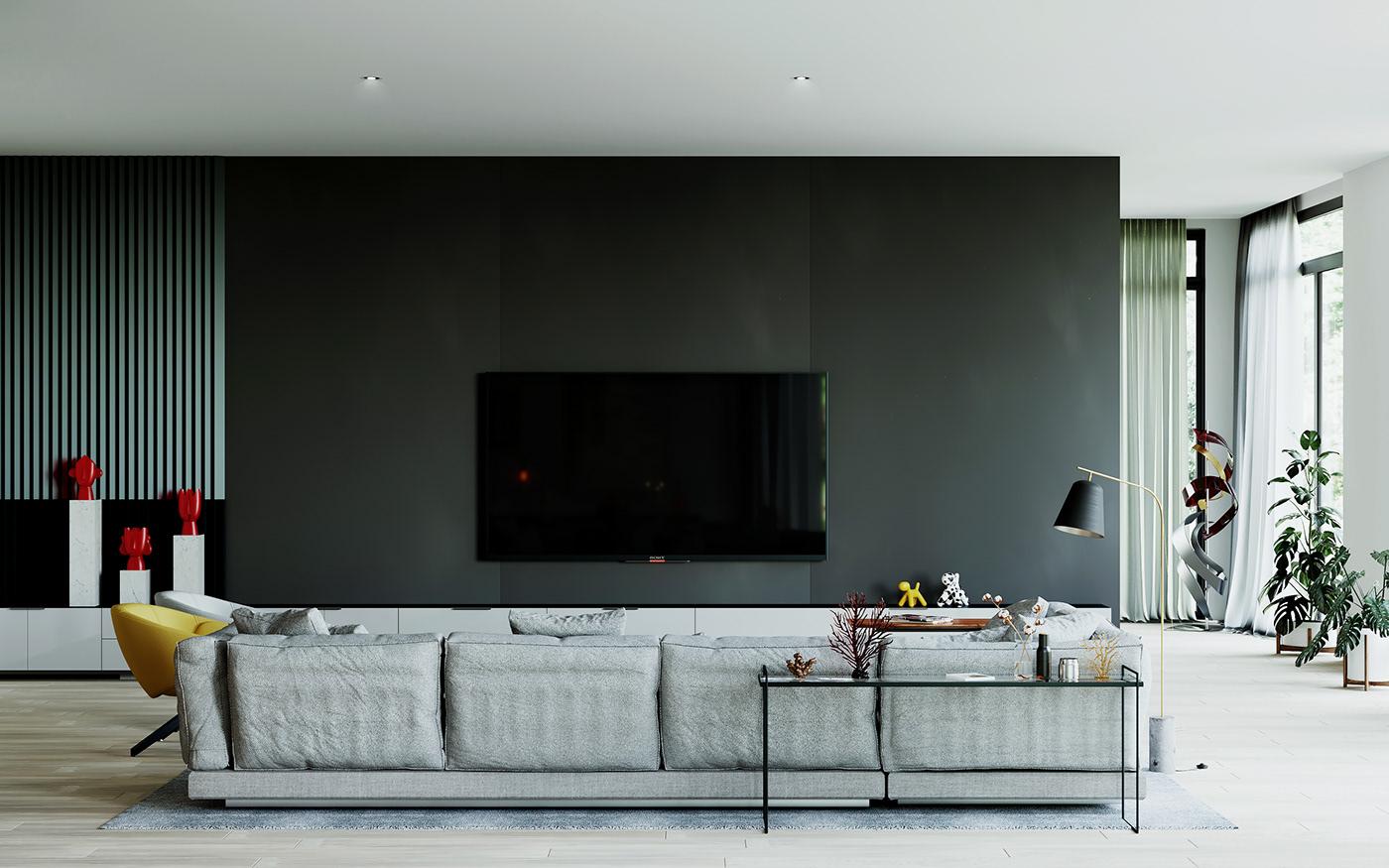 chair chimenea cinema 4d corona render  Lamp lampara Render salon silla living room