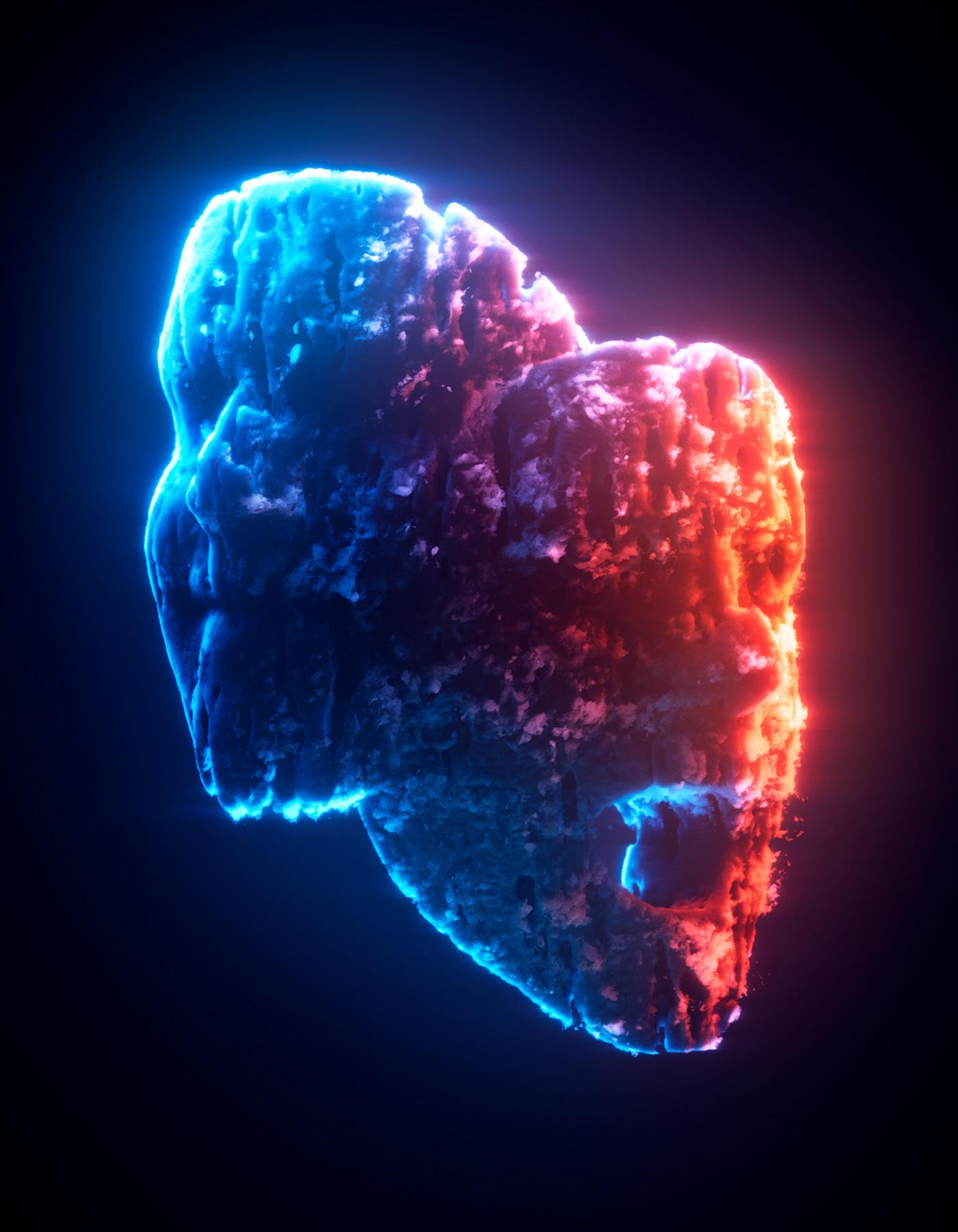 3D art charity clouds digital glow motiongraphics nft