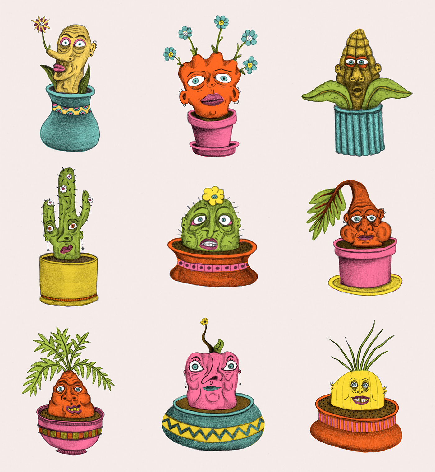 color Flowers sketches Drawing  art creatures characters weird Fun ILLUSTRATION
