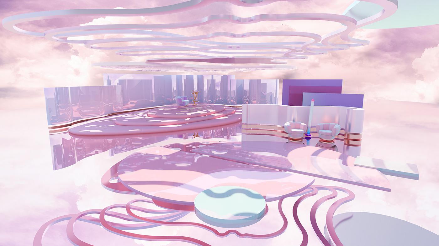 interior design  pink spaces dreamy spaces set design  pink interior design rendering pink render art direction  3D Visualization furniture design