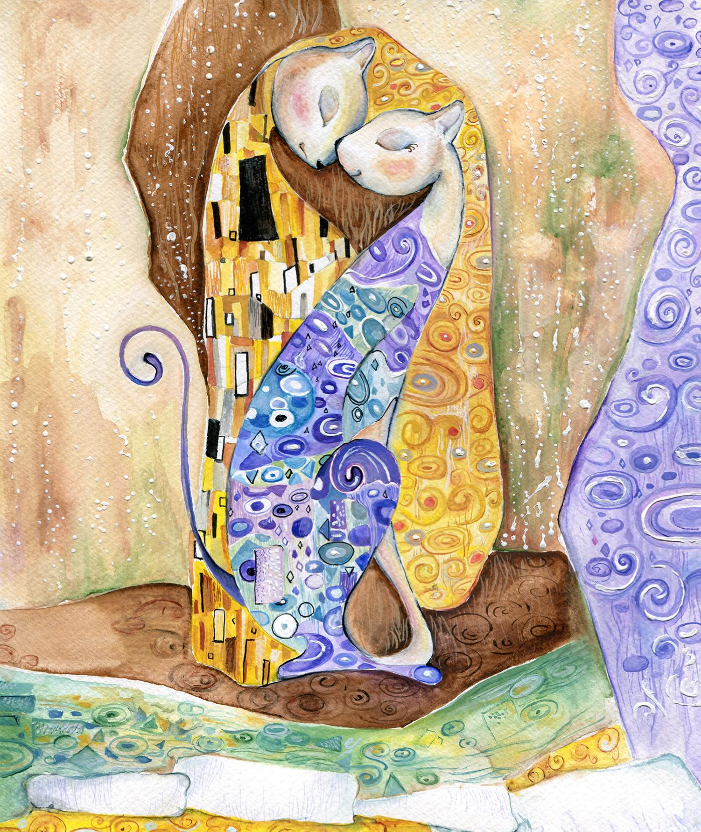 handpainted cats Picasso van gogh Klimt miro TRADITIONAL ART kandinsky illustrations prints