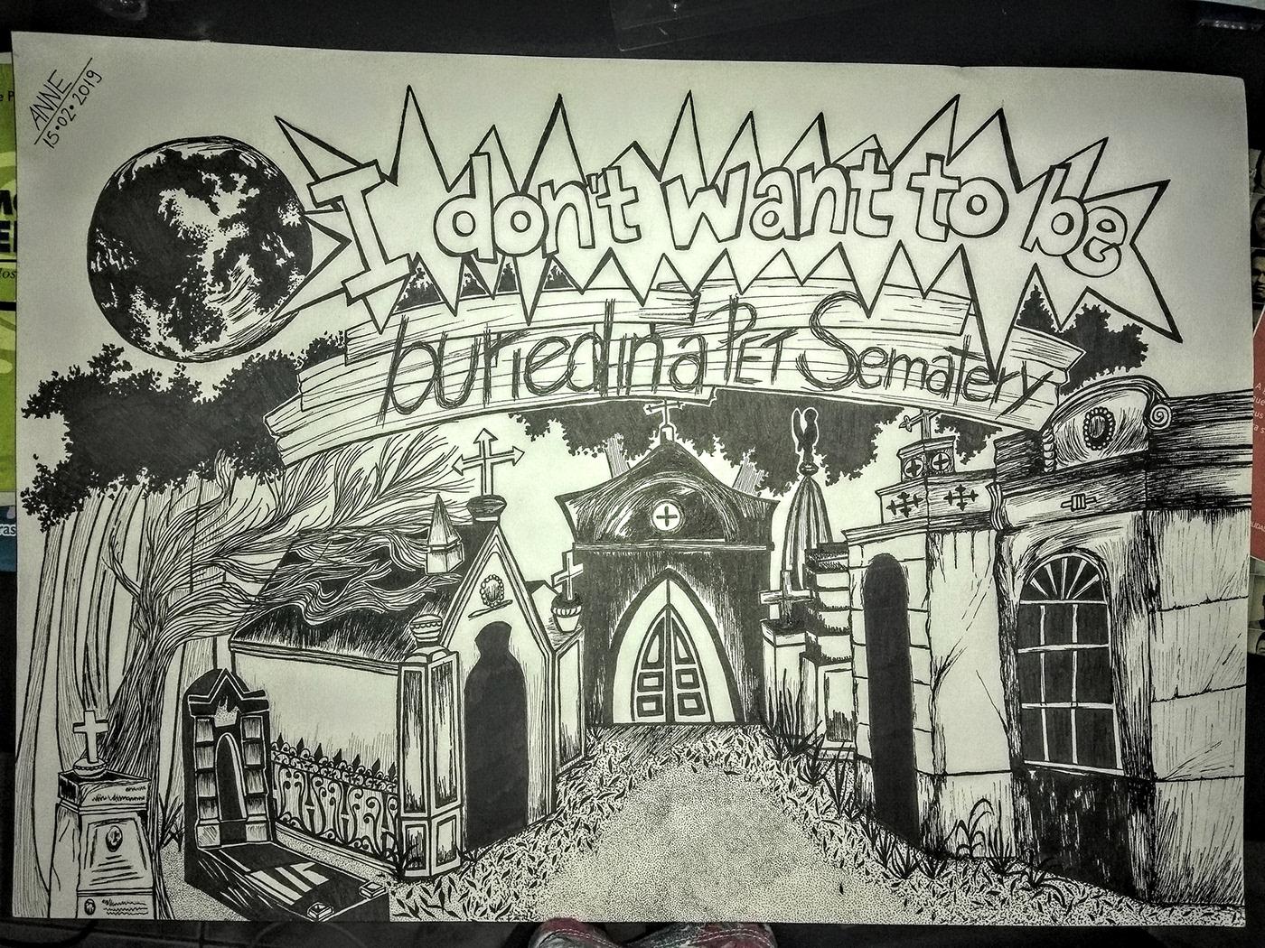 desenho preto&branco pet sematery filme cemitério maldito homenagemaosramones ramonestribute graphicartwork Ilustração annefreitas annefreitasdesign