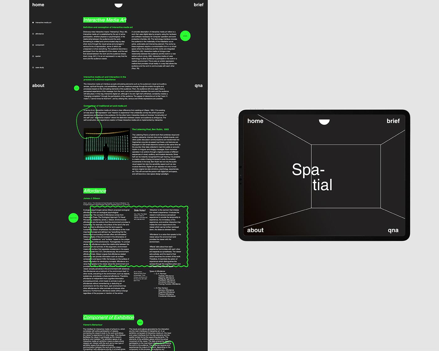 communication interaction interactive interactive media art Responsive spatial UI UI/UX ux Website Design