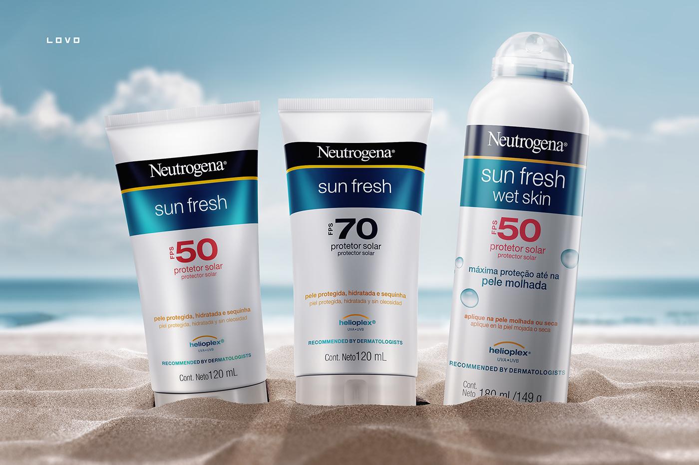Sun Fresh Neutrogena Sun can beauty lovo Render CG sand beach