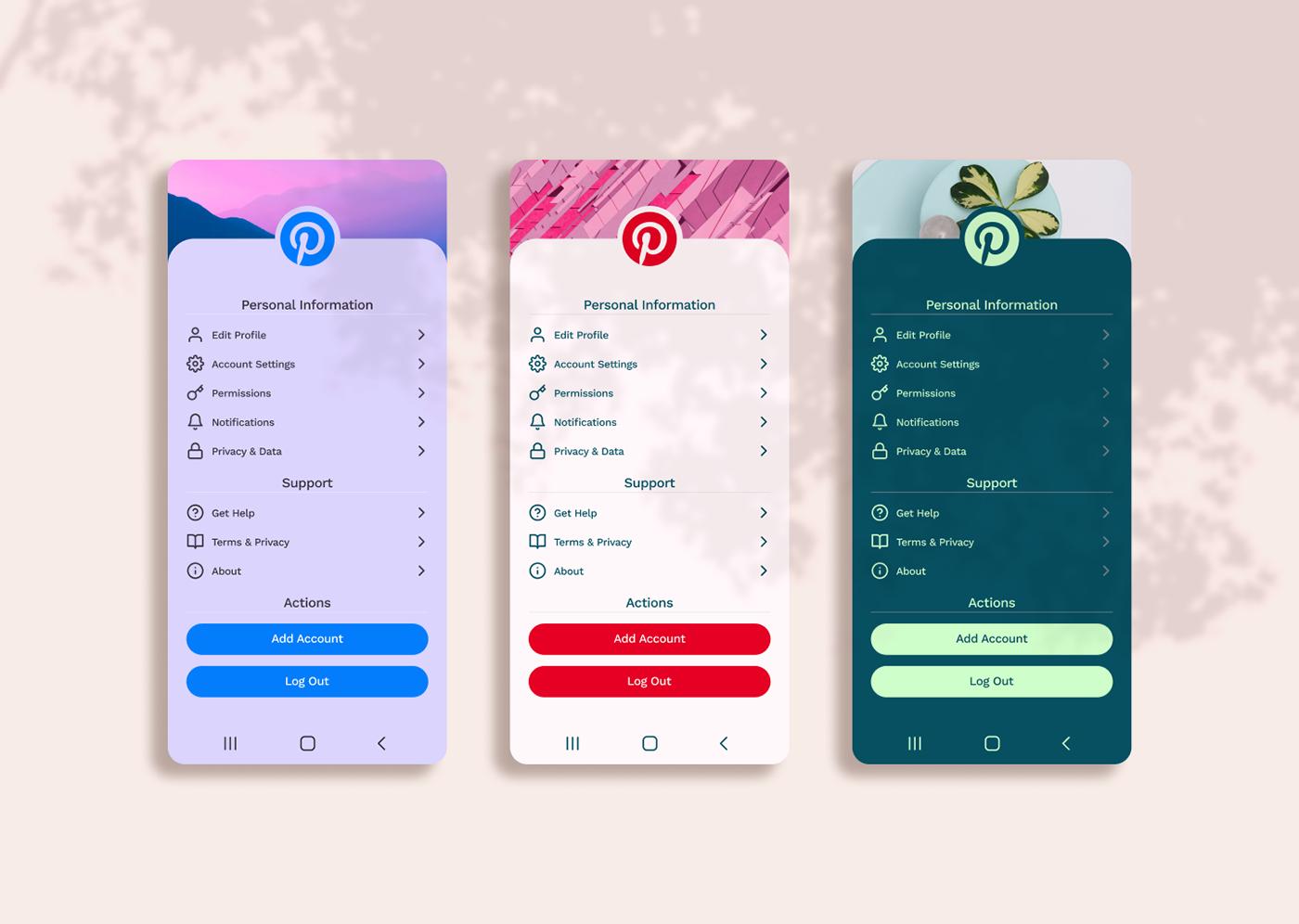app daily ui DailyUI Figma Interface Pinterest settings UI UI/UX ux