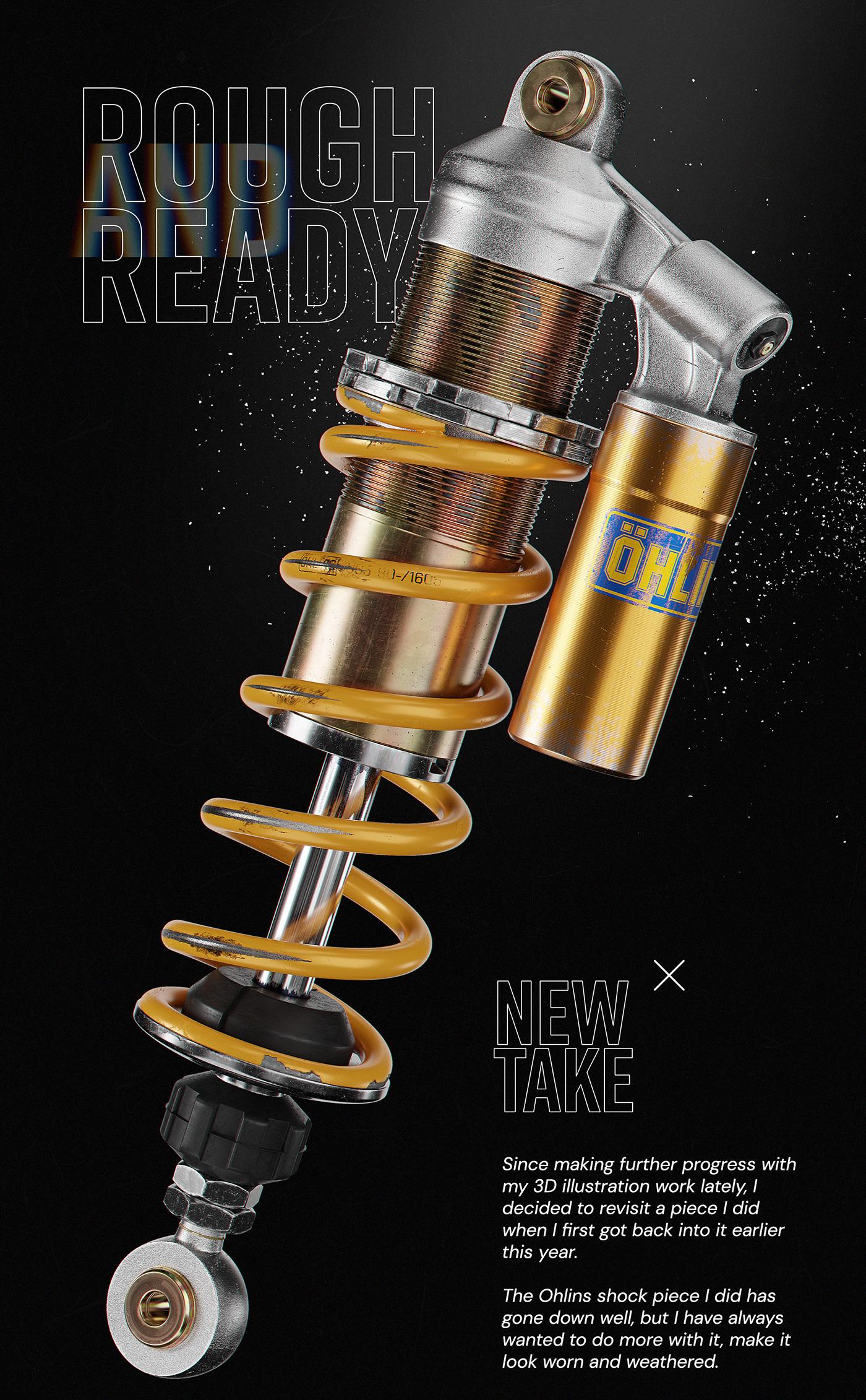 3D Bike blender car car parts CGI engine motorcycle spring Suspension