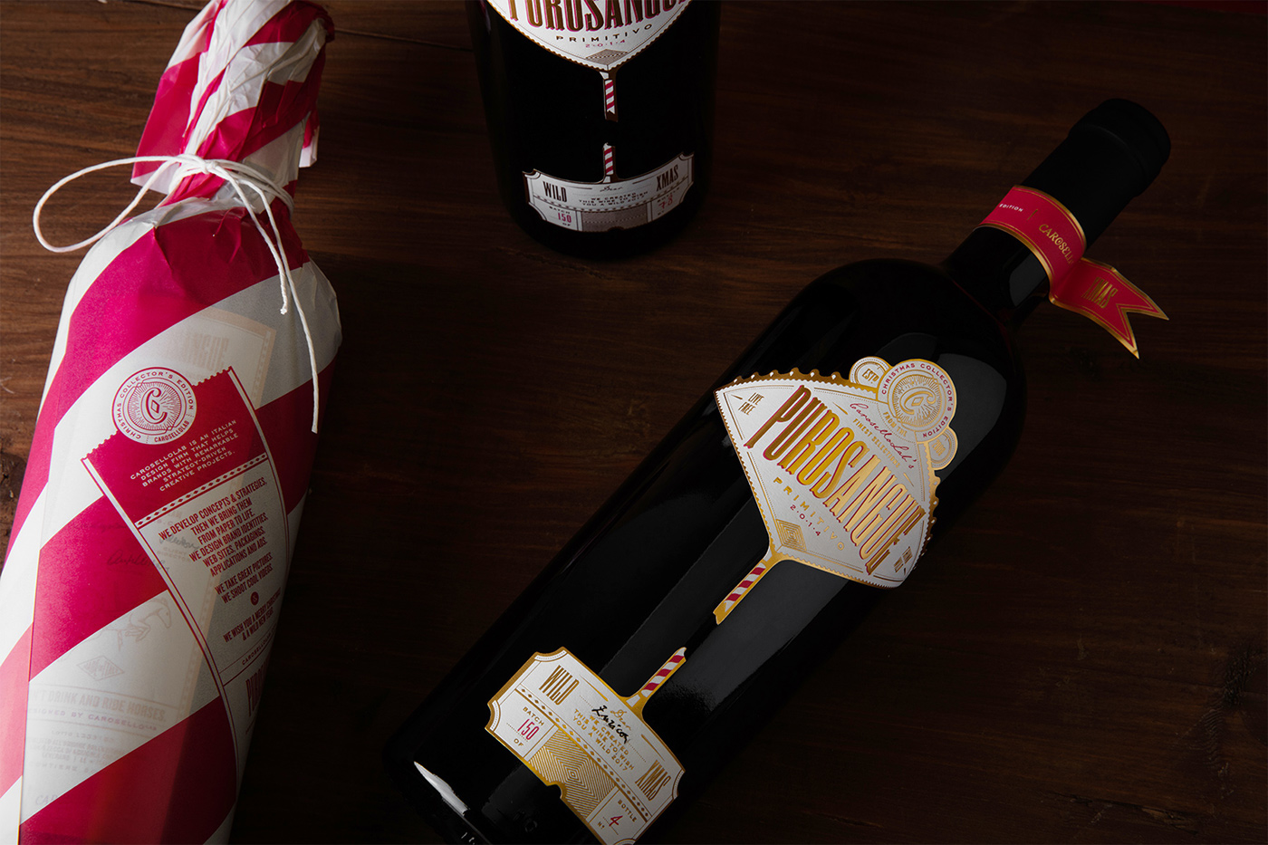 wine Label beverage spirit gold Christmas typography   bottle Food  Wrap