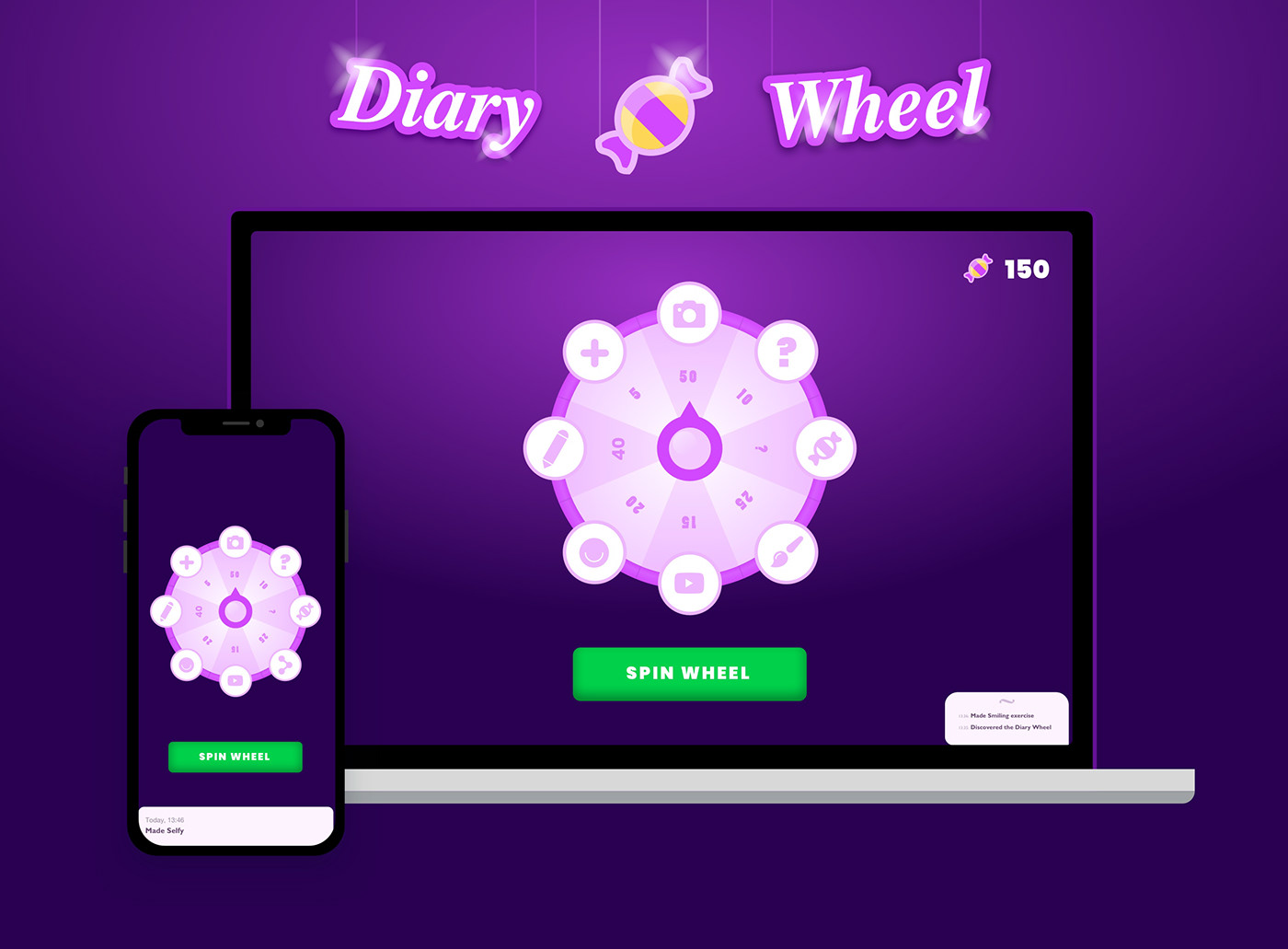 wheel roulethe spin Candy design uiux showcase animation  Diary online