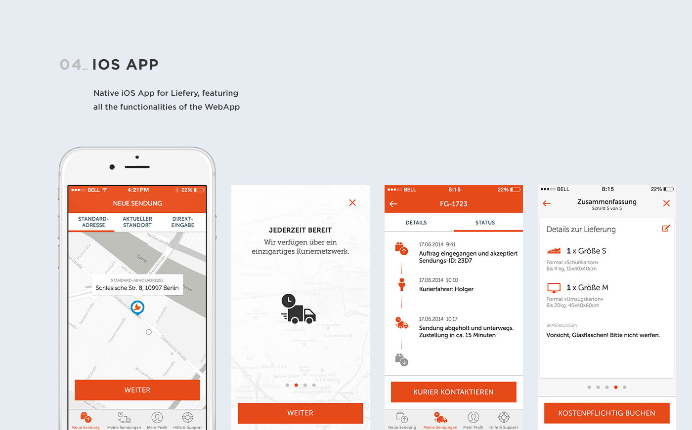 user experience user interface Interaction design  webapp iOS App Android App visual design courier shipping delivery