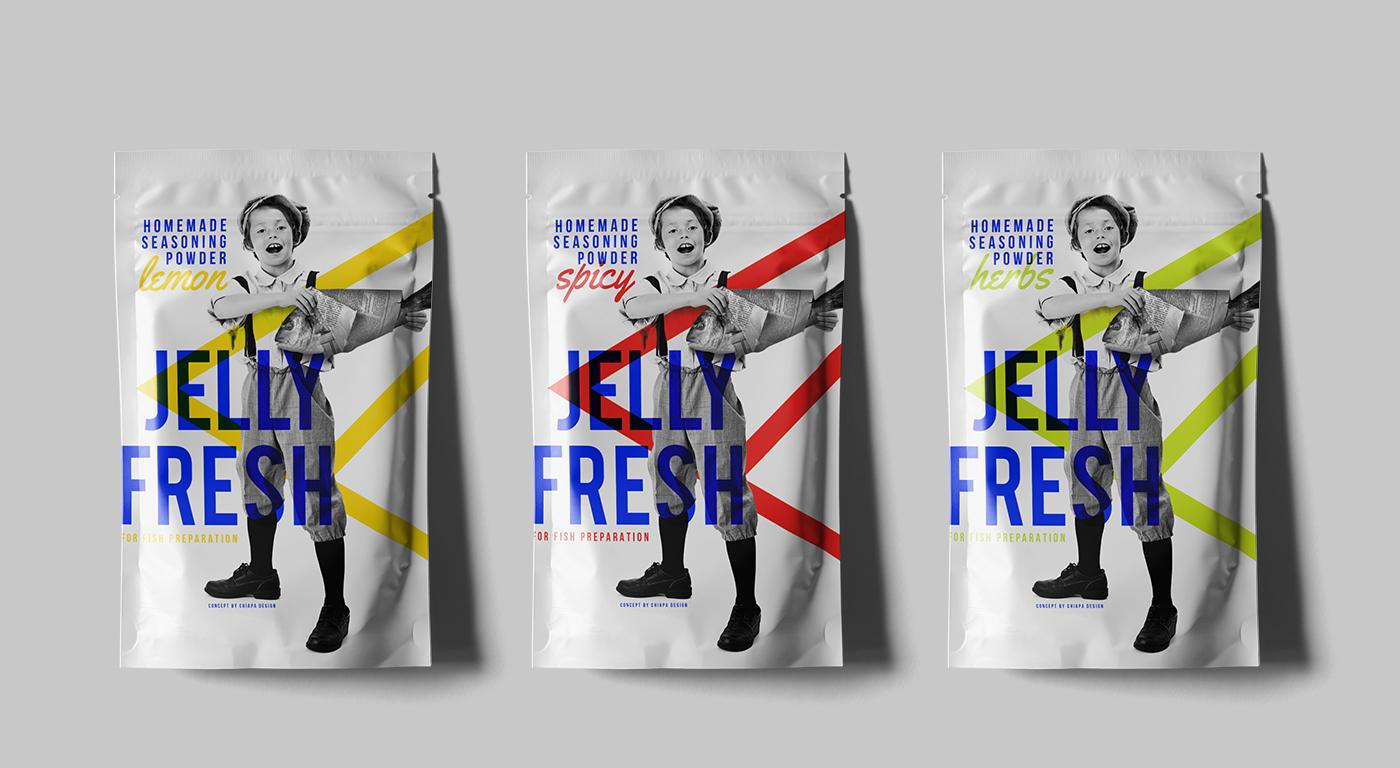 fish seasoning newspaper Packaging branding  herbal spicy lemon boy jelly