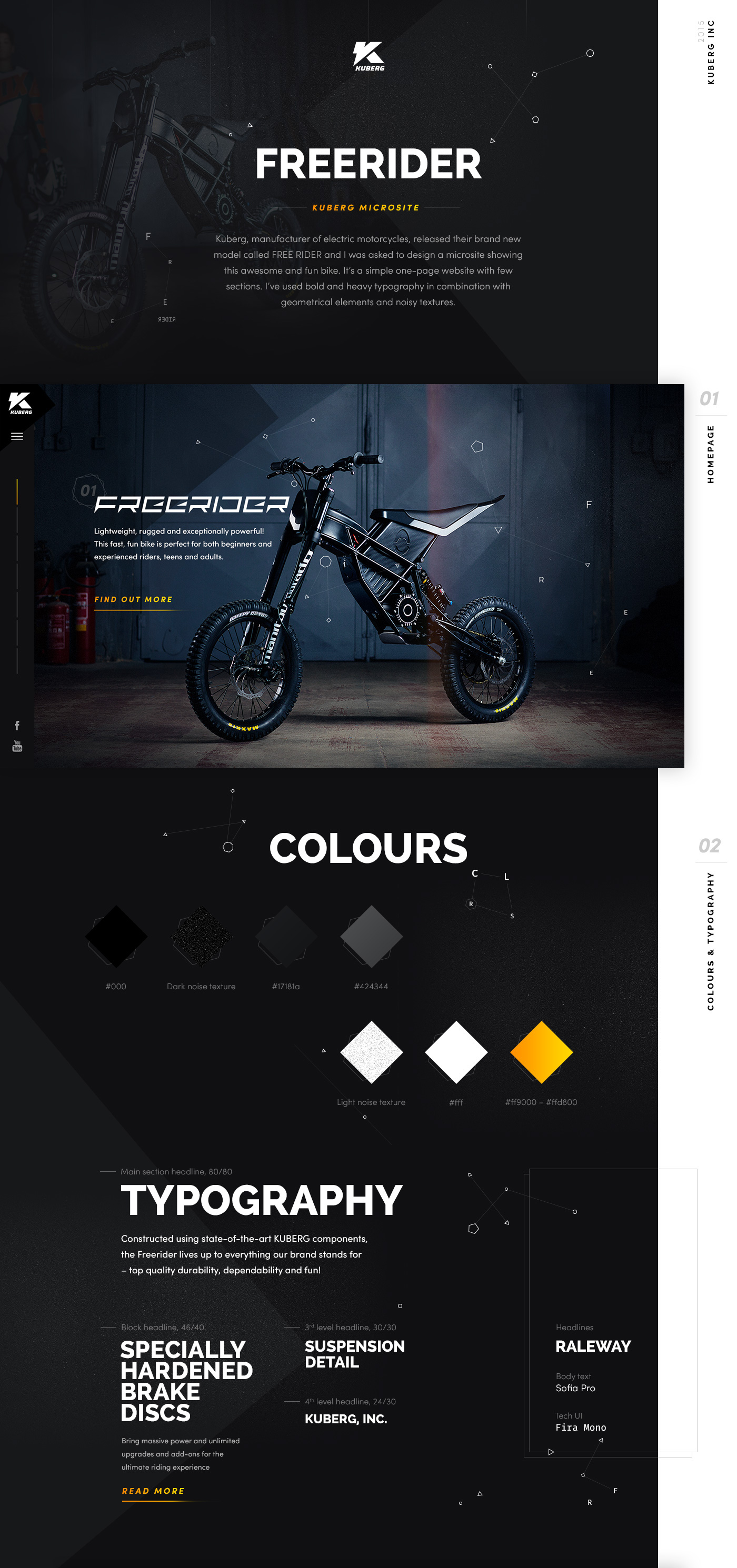 Web UI design product Bike motorcycle microsite dark geometric texture