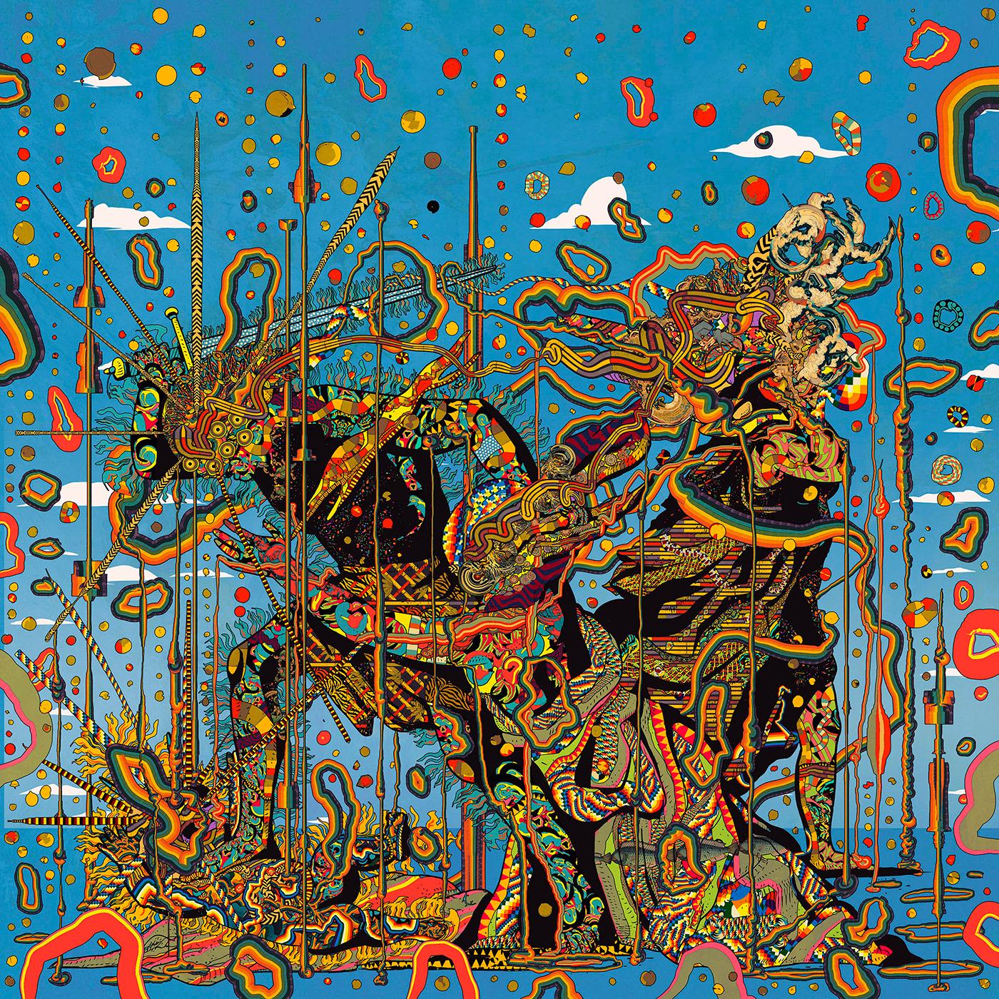 album cover art art print colorful Digital Art  ILLUSTRATION  Pop Art pop surrealism psychedelic art surrealism