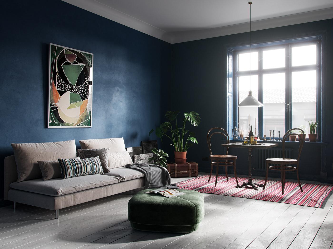 Scandinavian Interior cinema4d Plant blue design