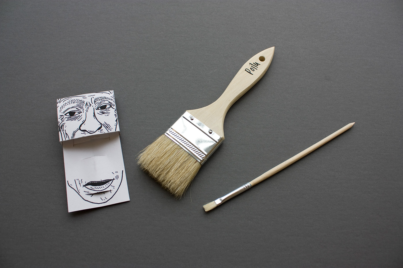 pinceaux brush mustache paint draw package wood Old men illustrations series tool hair