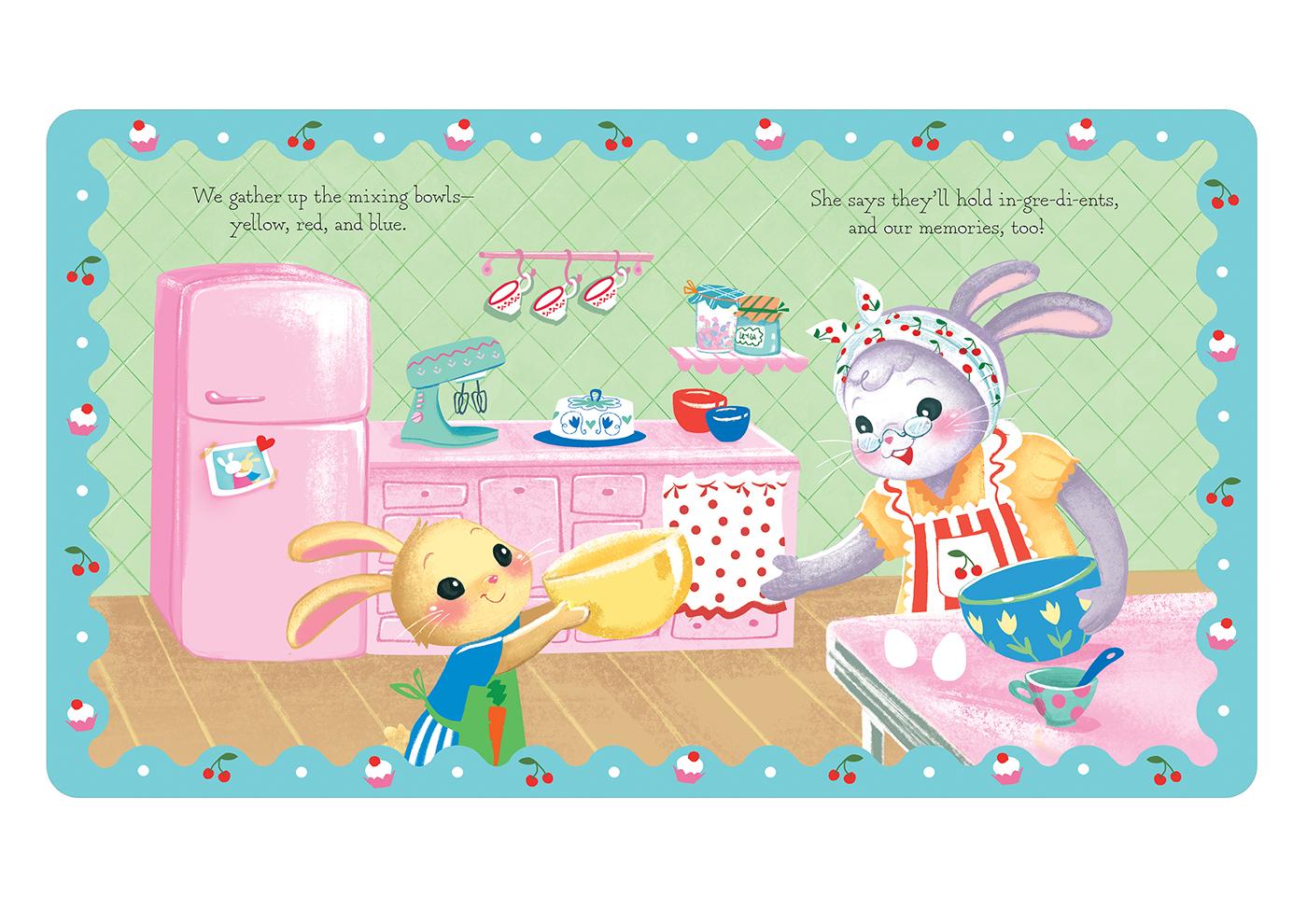 children's book Love grandma ILLUSTRATION  children 50's style cooking animals Character design  digital illustration