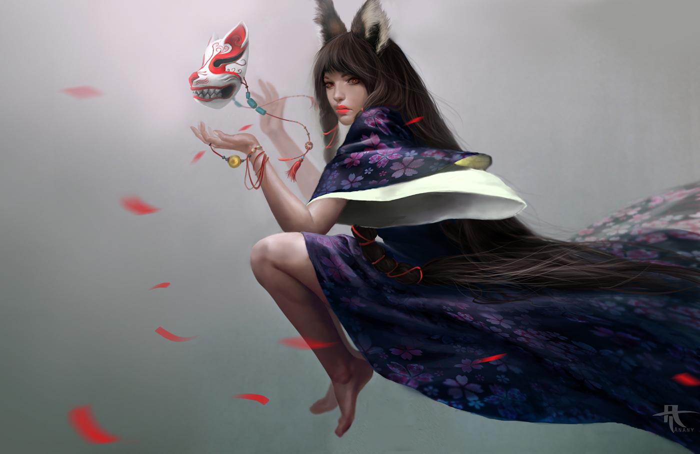 Asian mythology kitsune fox women