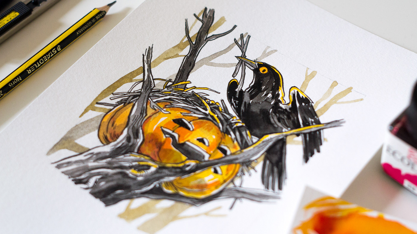 inktober Original TRADITIONAL ART ink Drawing  painting   Cat animal people Character design